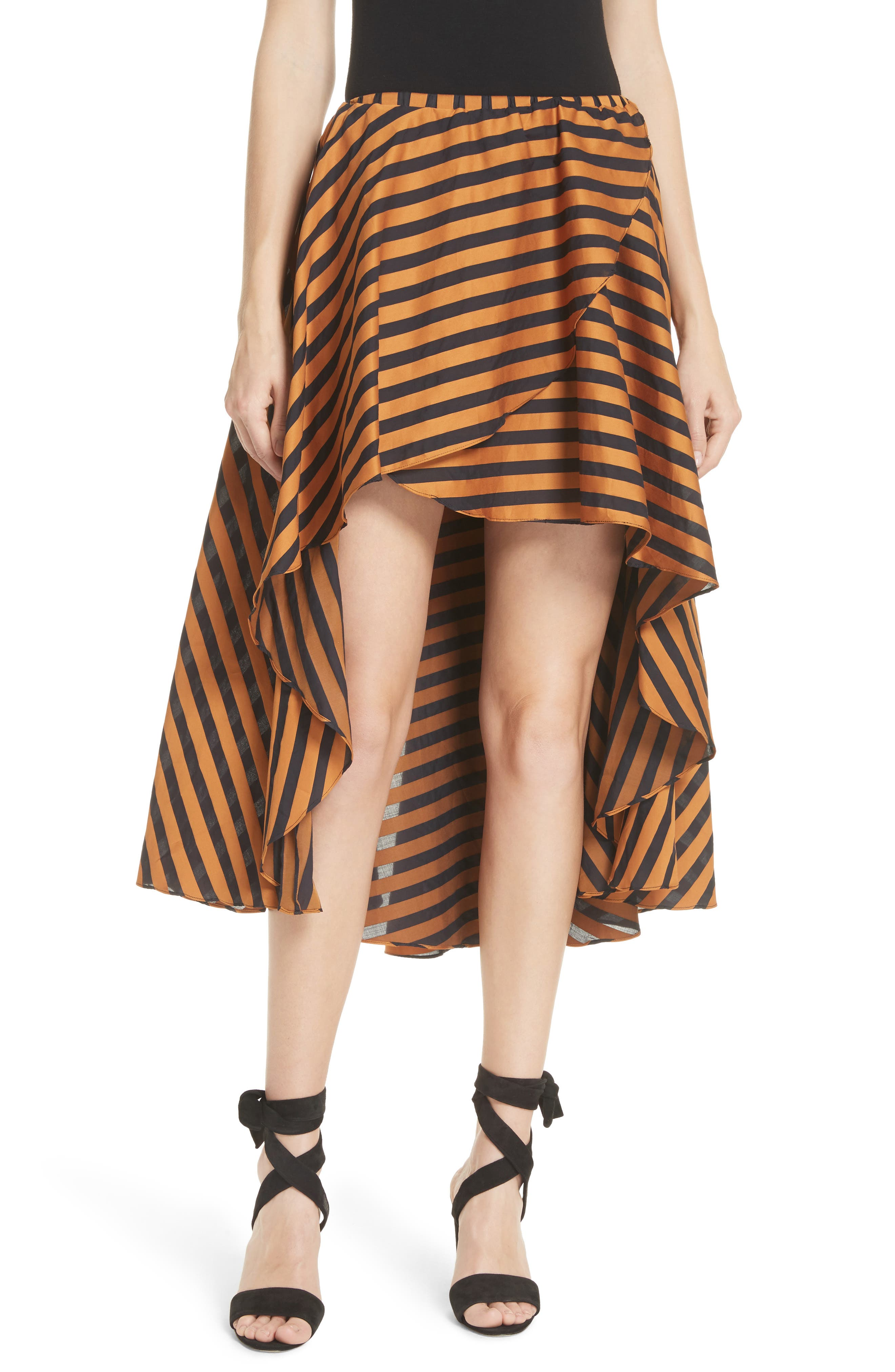 Adelle Ruffle High/Low Skirt,                             Main thumbnail 1, color,                             Bronze Black