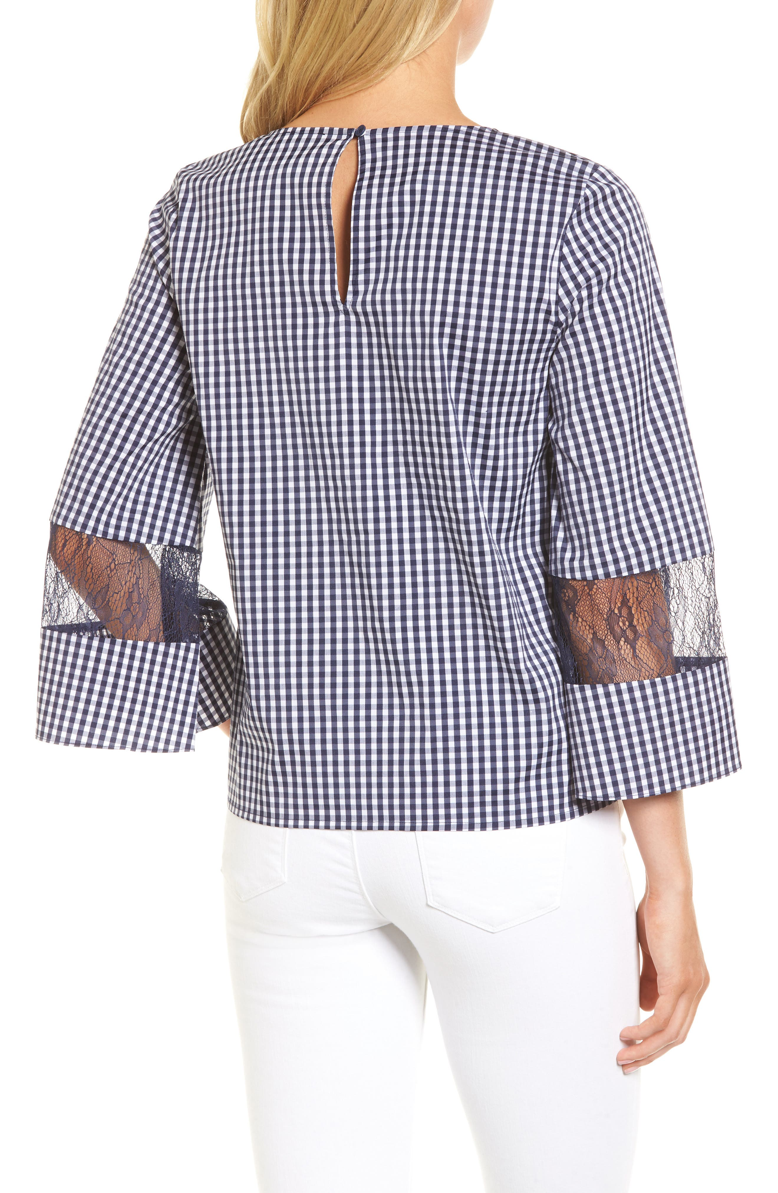 Gingham & Lace Blouse,                             Alternate thumbnail 2, color,                             Navy Evening- White Gingham