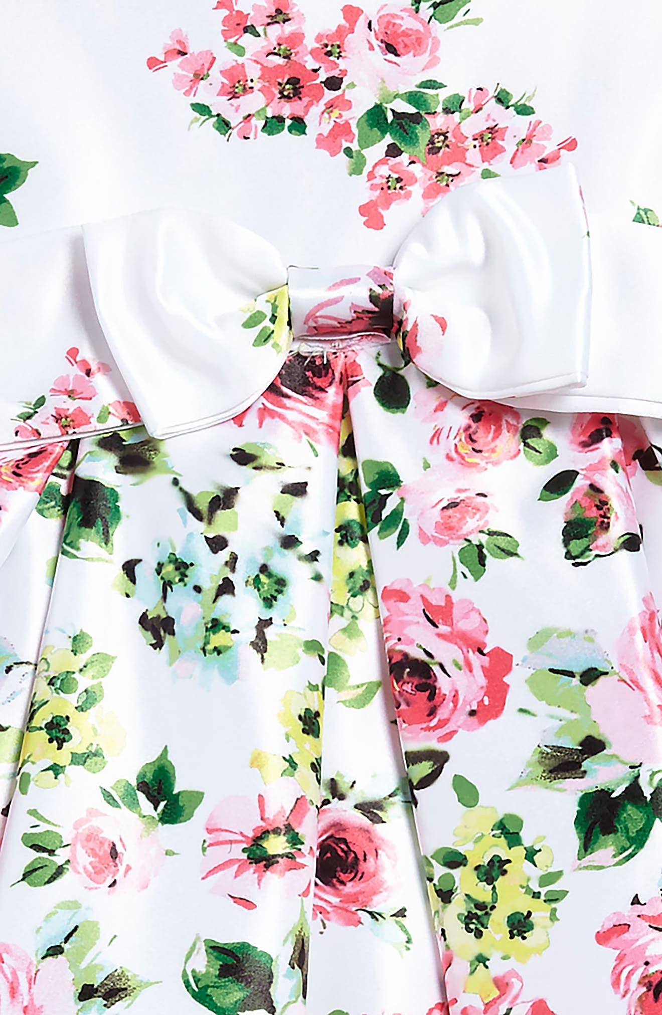 Alternate Image 3  - Ava & Yelly Floral Bow Front Dress (Toddler Girls & Little Girls)