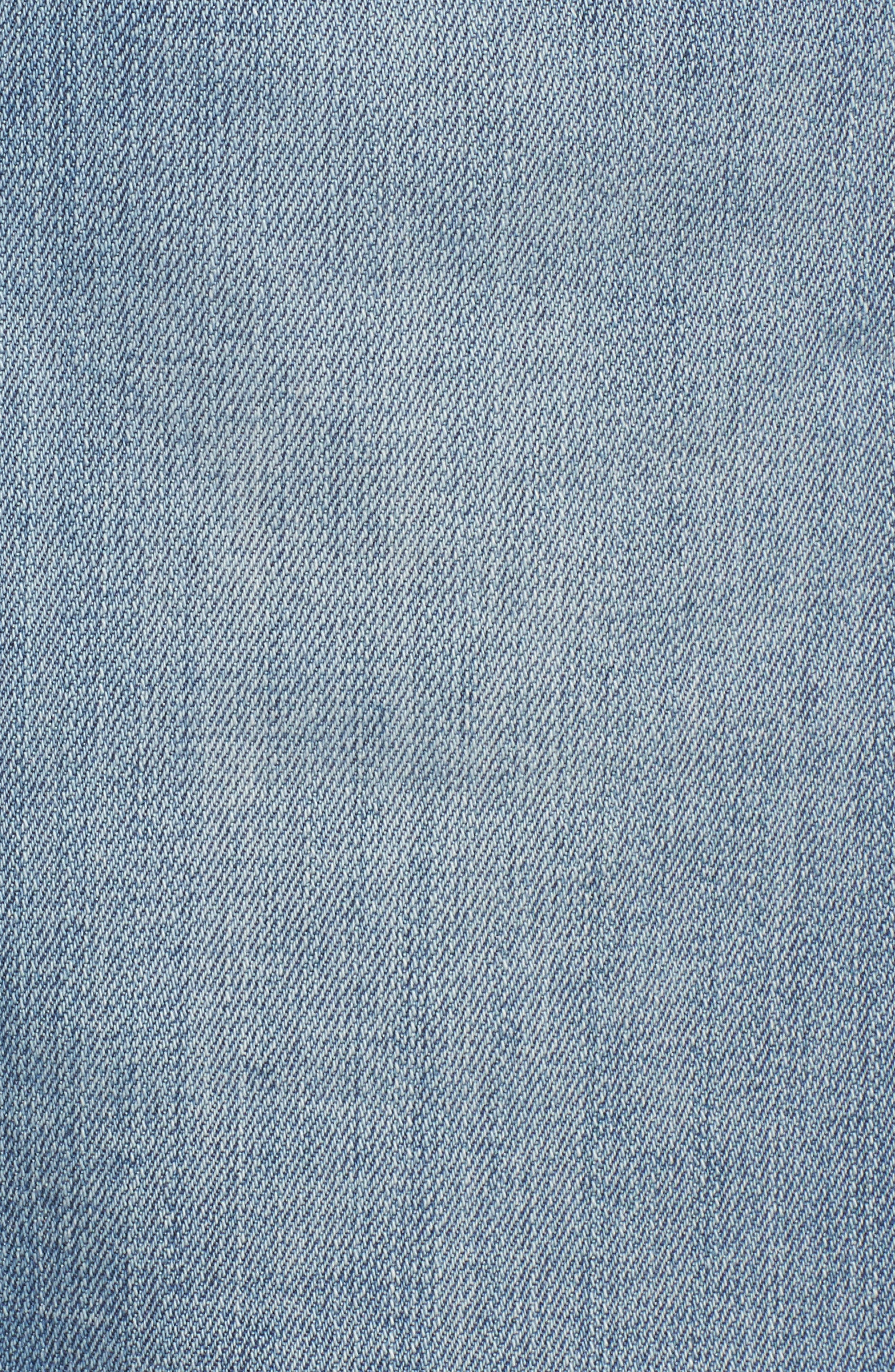 High Waist Distressed Denim Shorts,                             Alternate thumbnail 5, color,                             Medium Wash