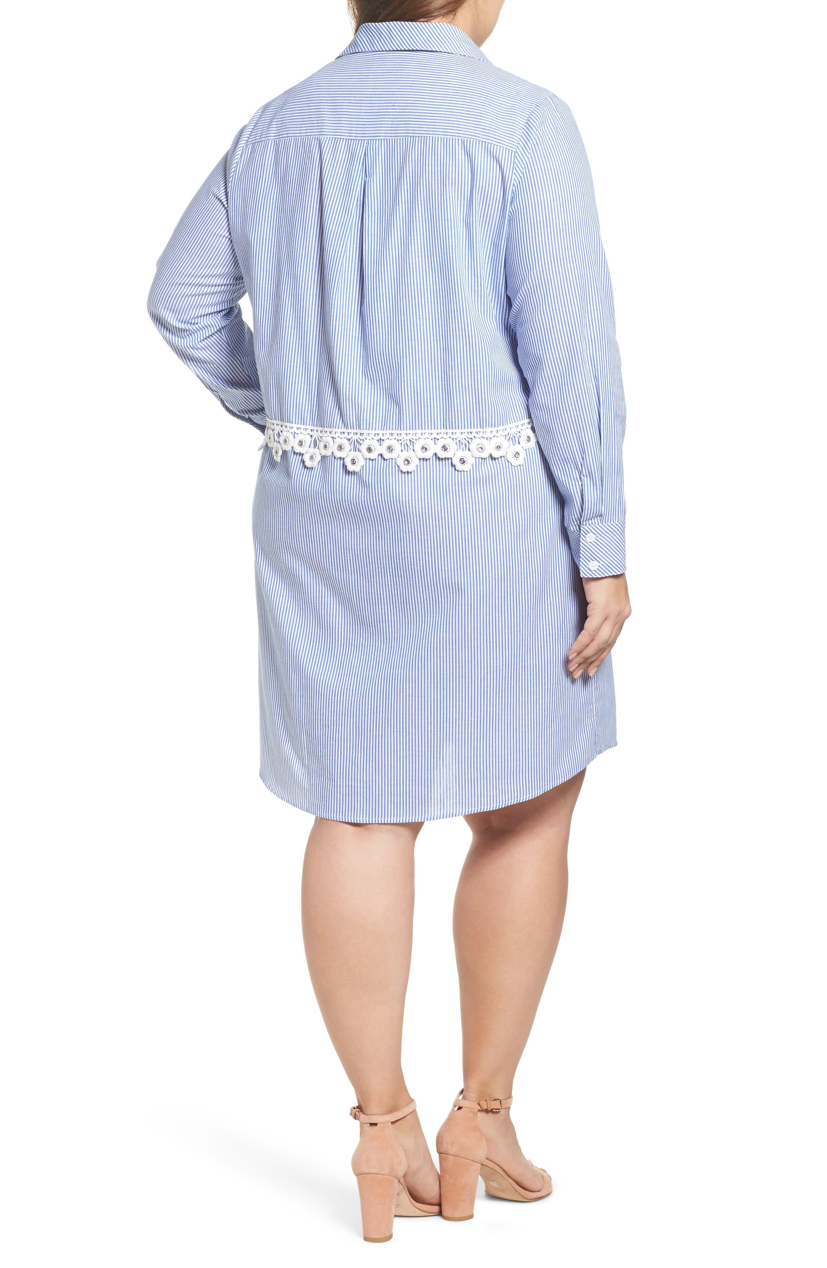 Flower Waist Stripe Shirtdress,                             Alternate thumbnail 2, color,                             Blue White Stripe
