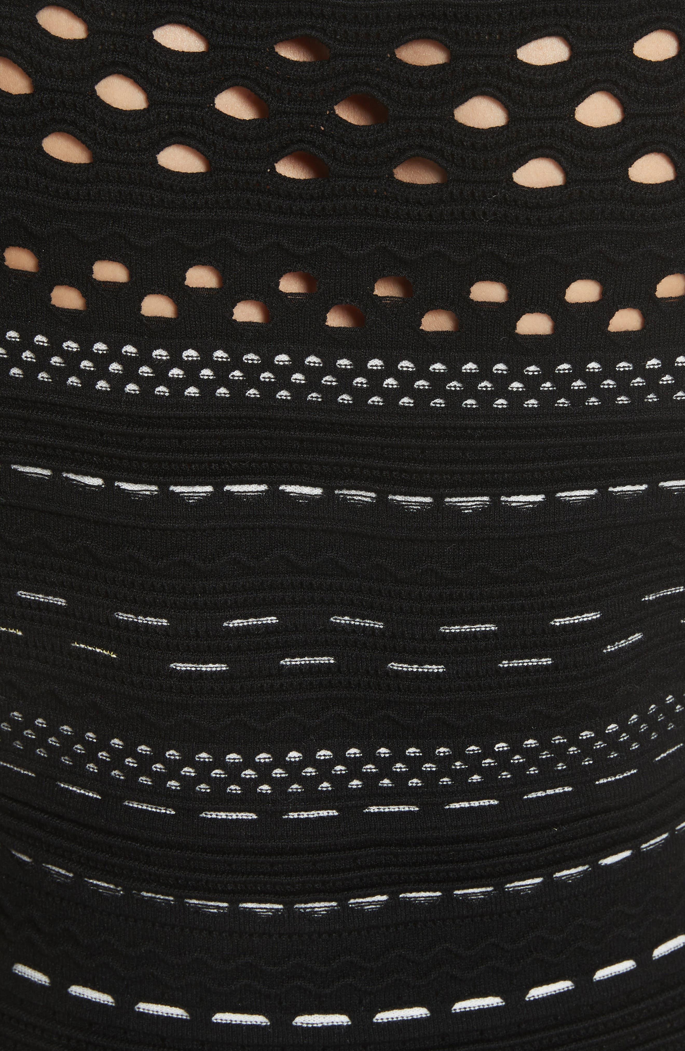 Lace Knit Top,                             Alternate thumbnail 5, color,                             Black/ White