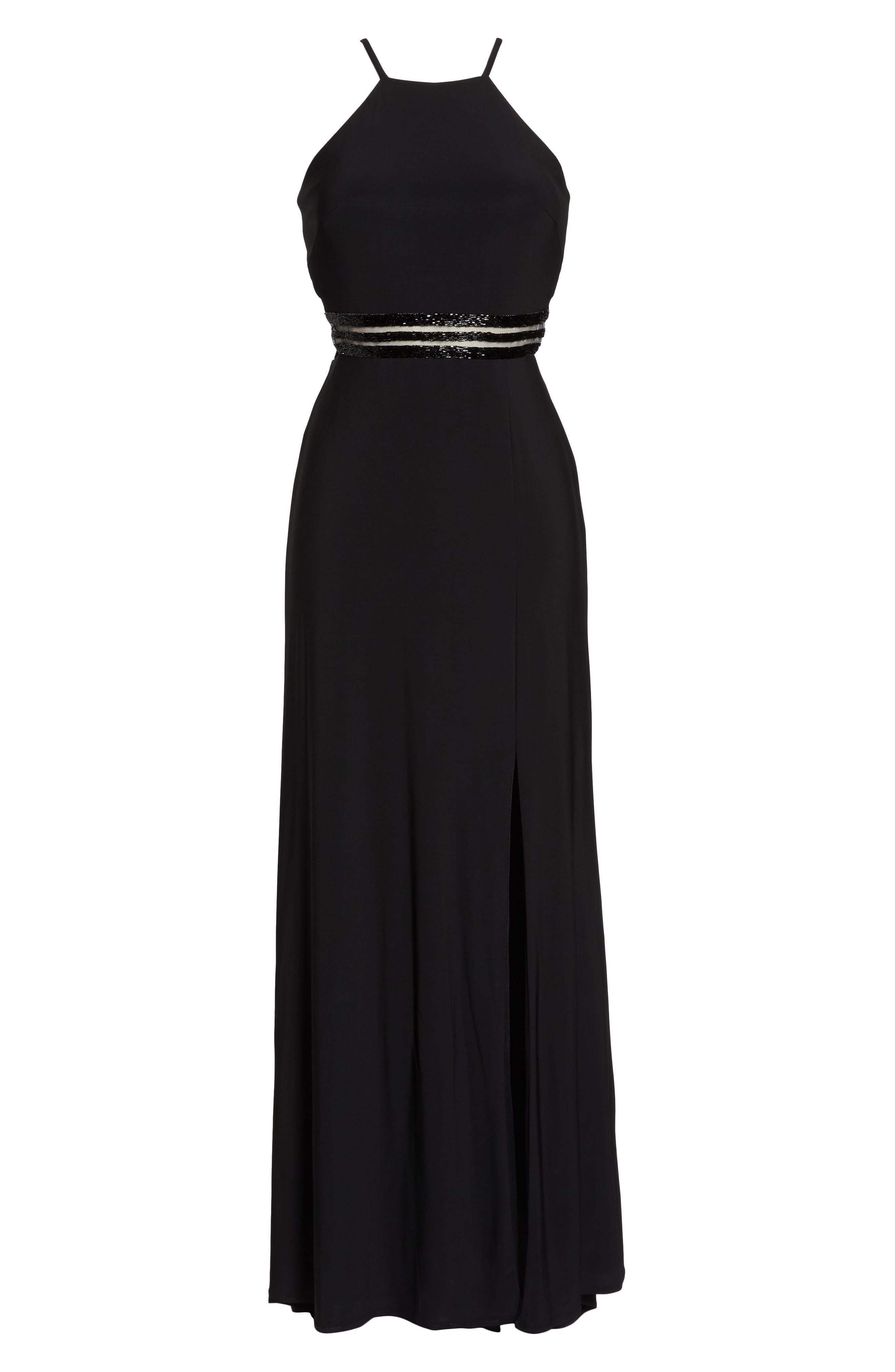 Alternate Image 6  - Morgan & Co. Beaded Mesh Halter Gown