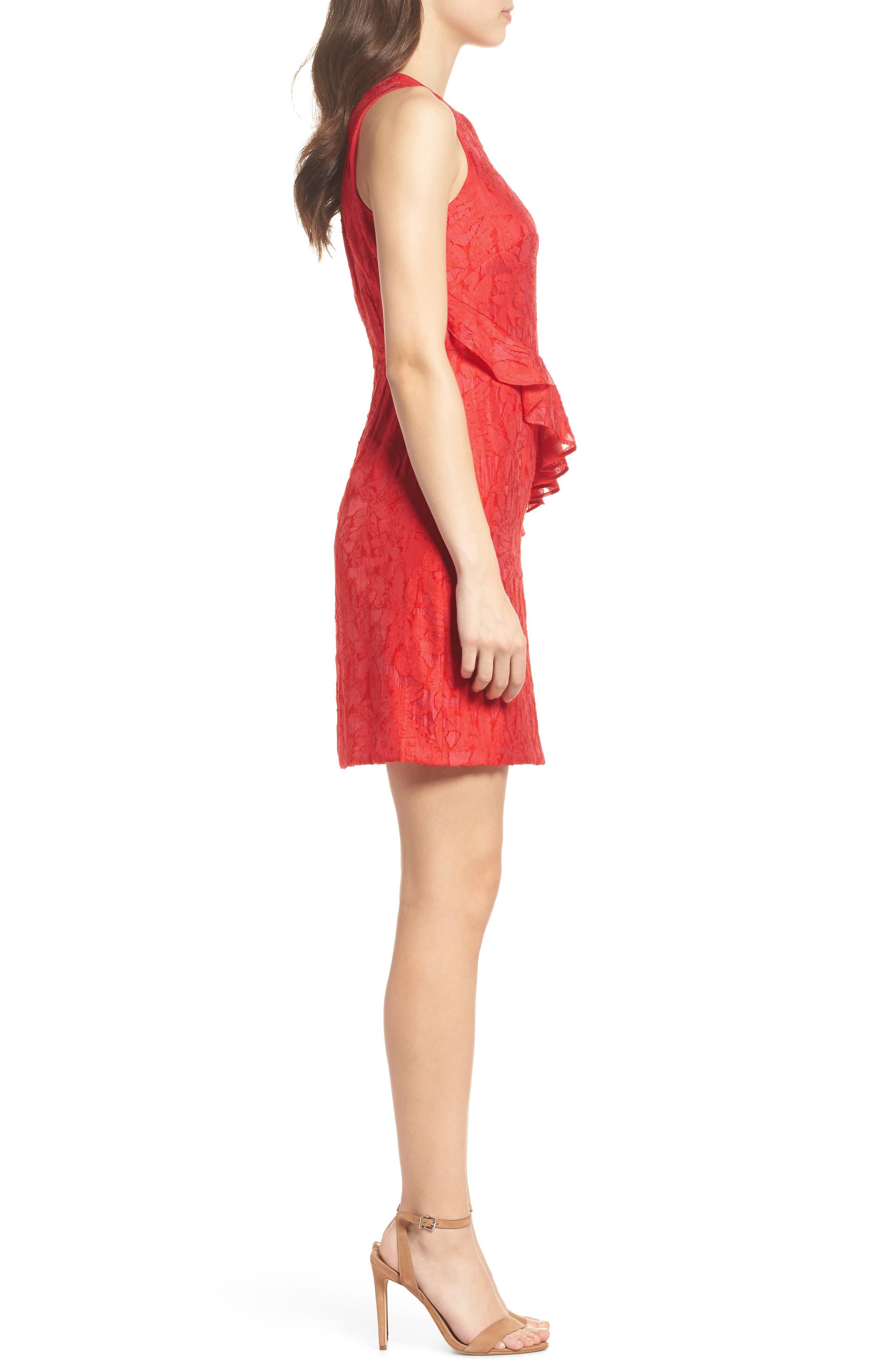 Organza Ruffle Sheath Dress,                             Alternate thumbnail 3, color,                             Red