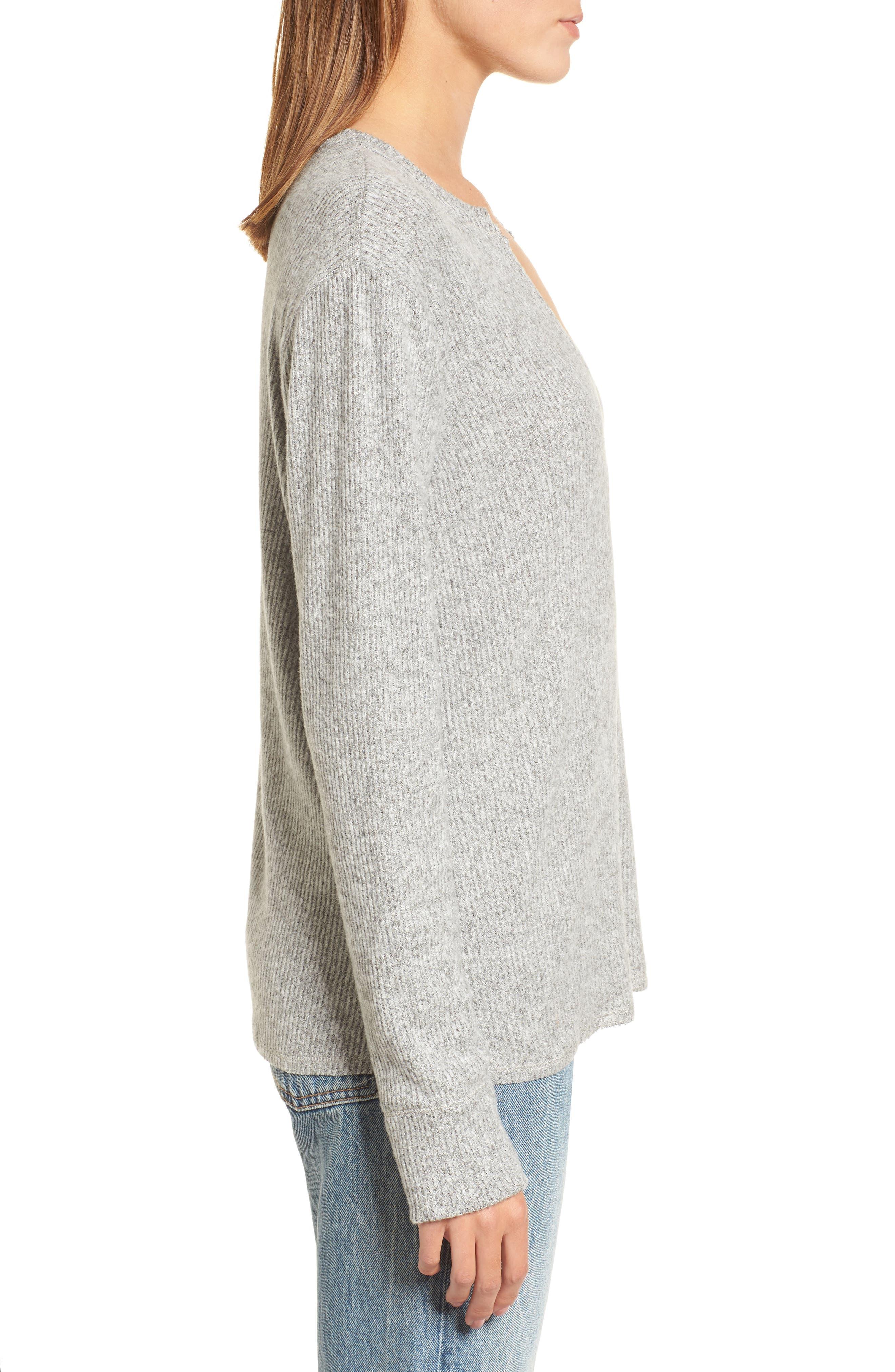 Ribbed Split Neck Sweater,                             Alternate thumbnail 3, color,                             Grey
