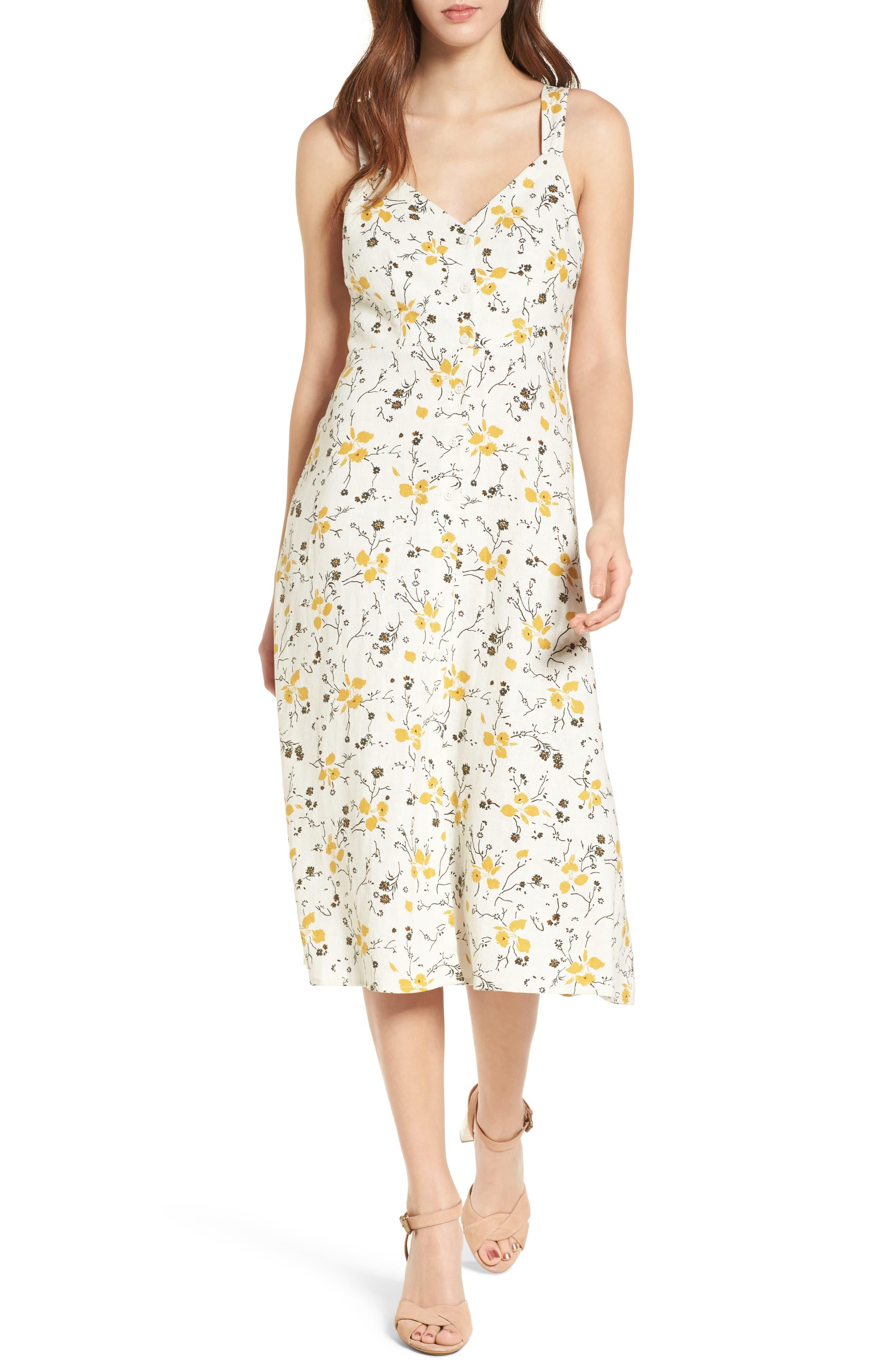 Floral Print Tie Back Midi Dress,                         Main,                         color, Ivory Egret Redux Floral