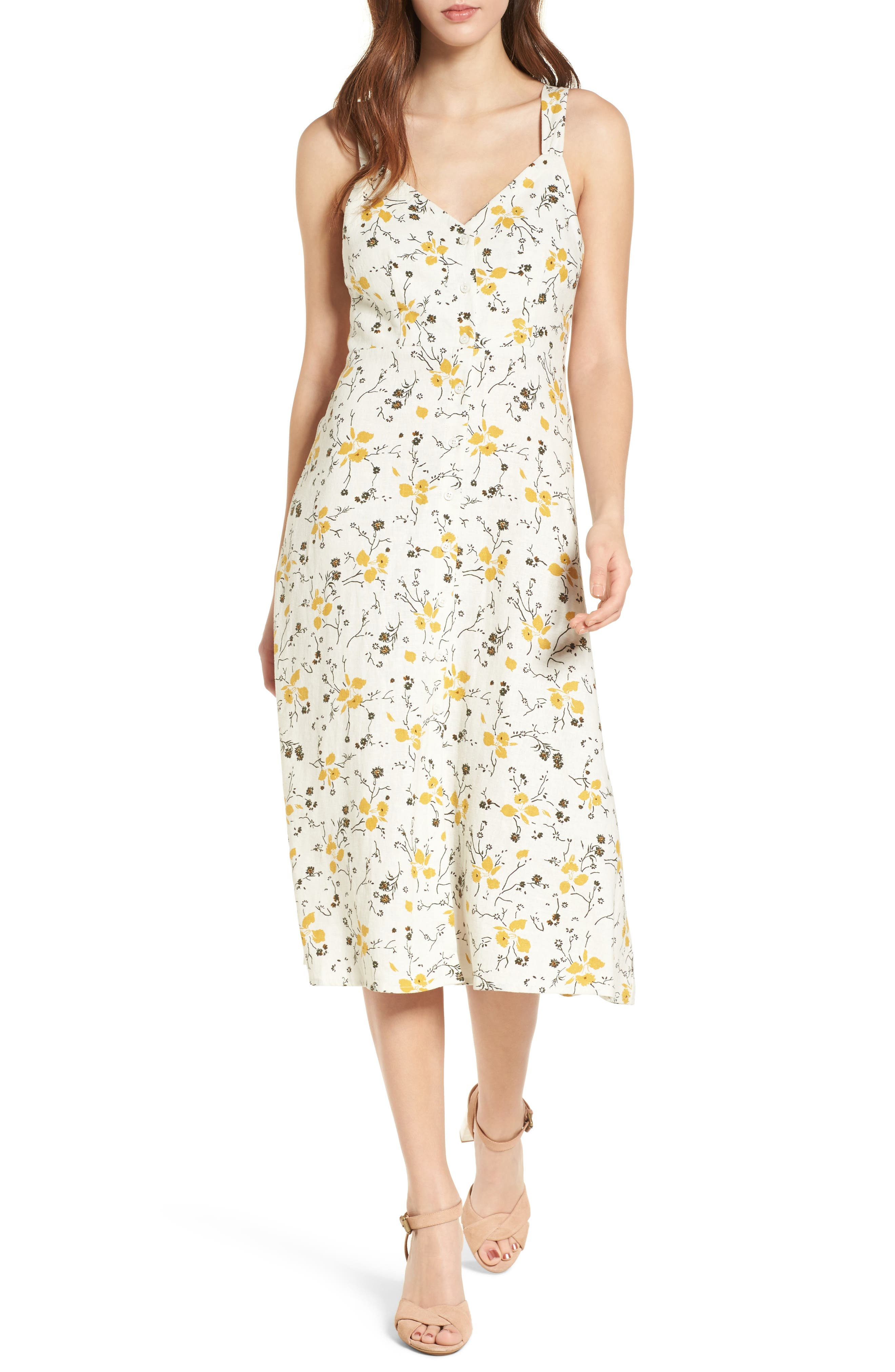 BP. Floral Print Tie Back Midi Dress