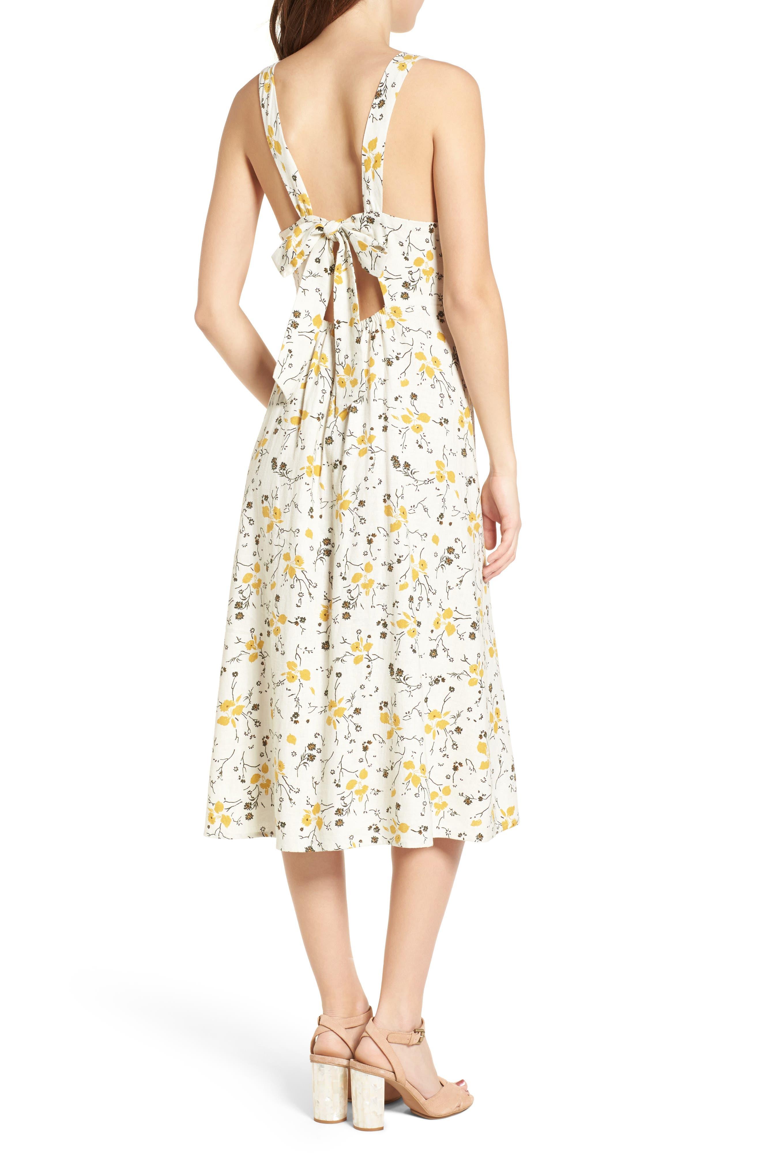 Floral Print Tie Back Midi Dress,                             Alternate thumbnail 2, color,                             Ivory Egret Redux Floral