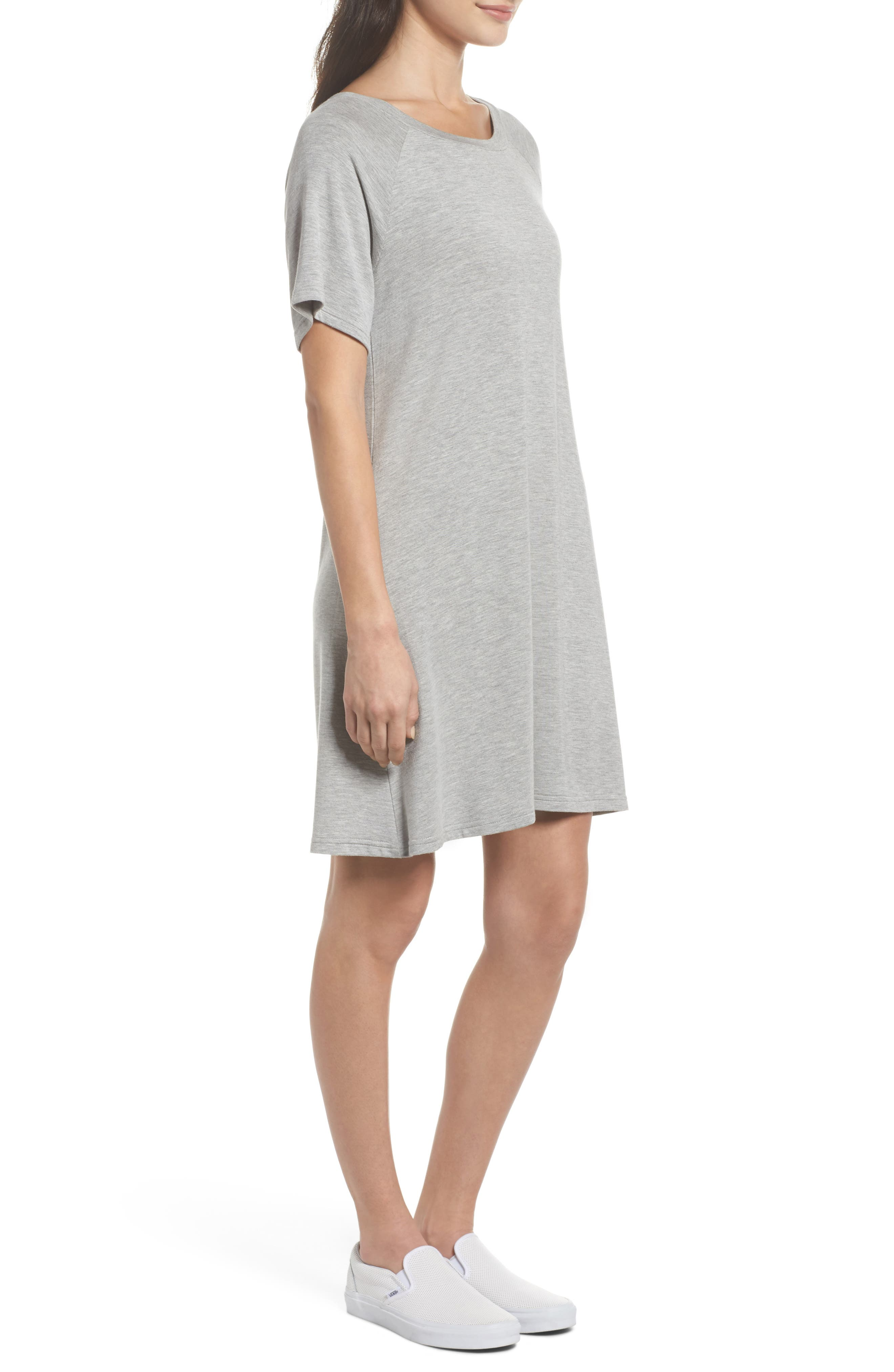 Greer Knit Shift Dress,                             Alternate thumbnail 3, color,                             Light Heather Grey