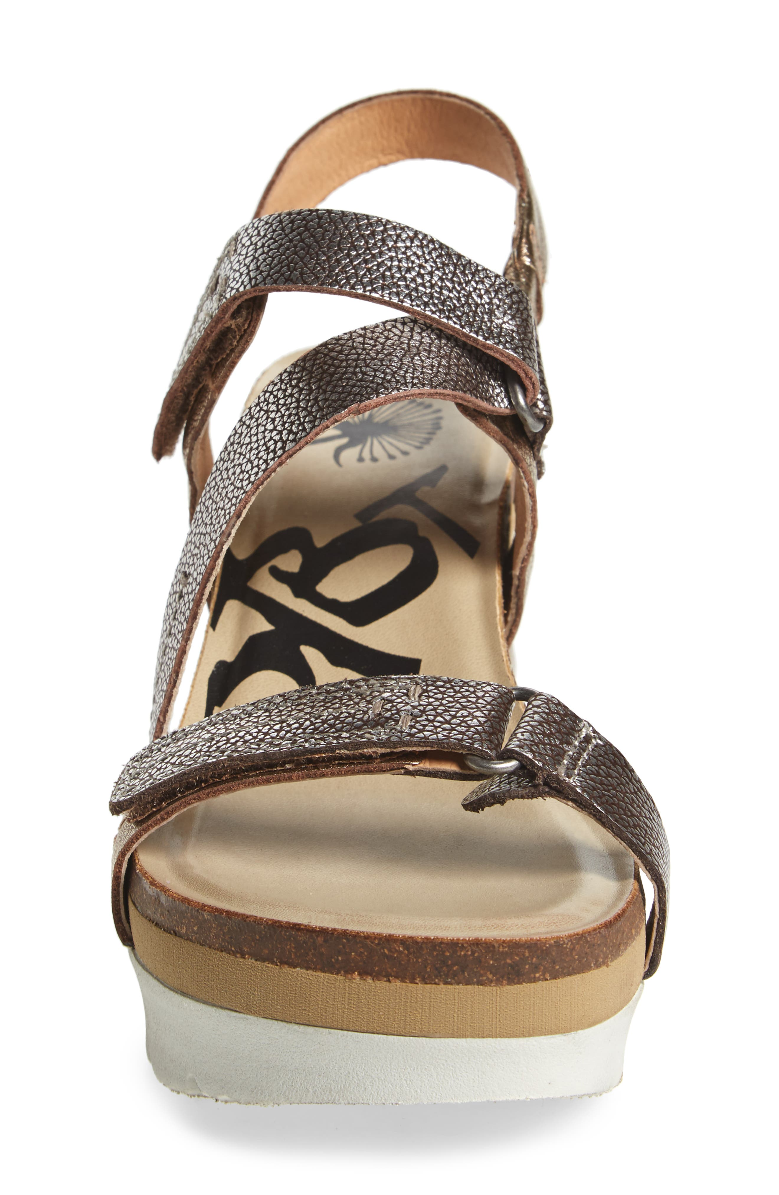 Wavey Wedge Sandal,                             Alternate thumbnail 5, color,                             Gold Leather