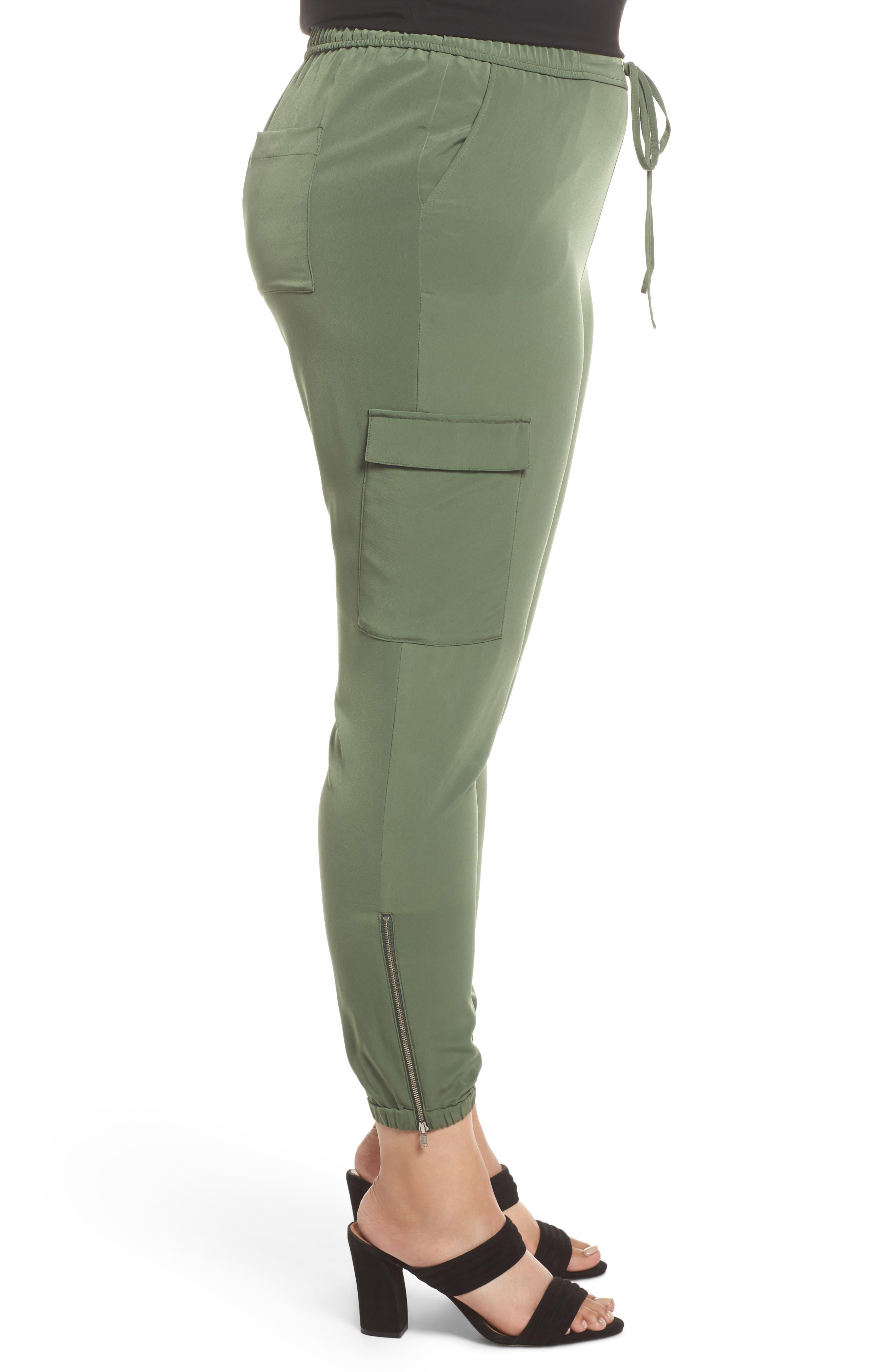 Zip Ankle Jogger Pants,                             Alternate thumbnail 3, color,                             Green Bronze
