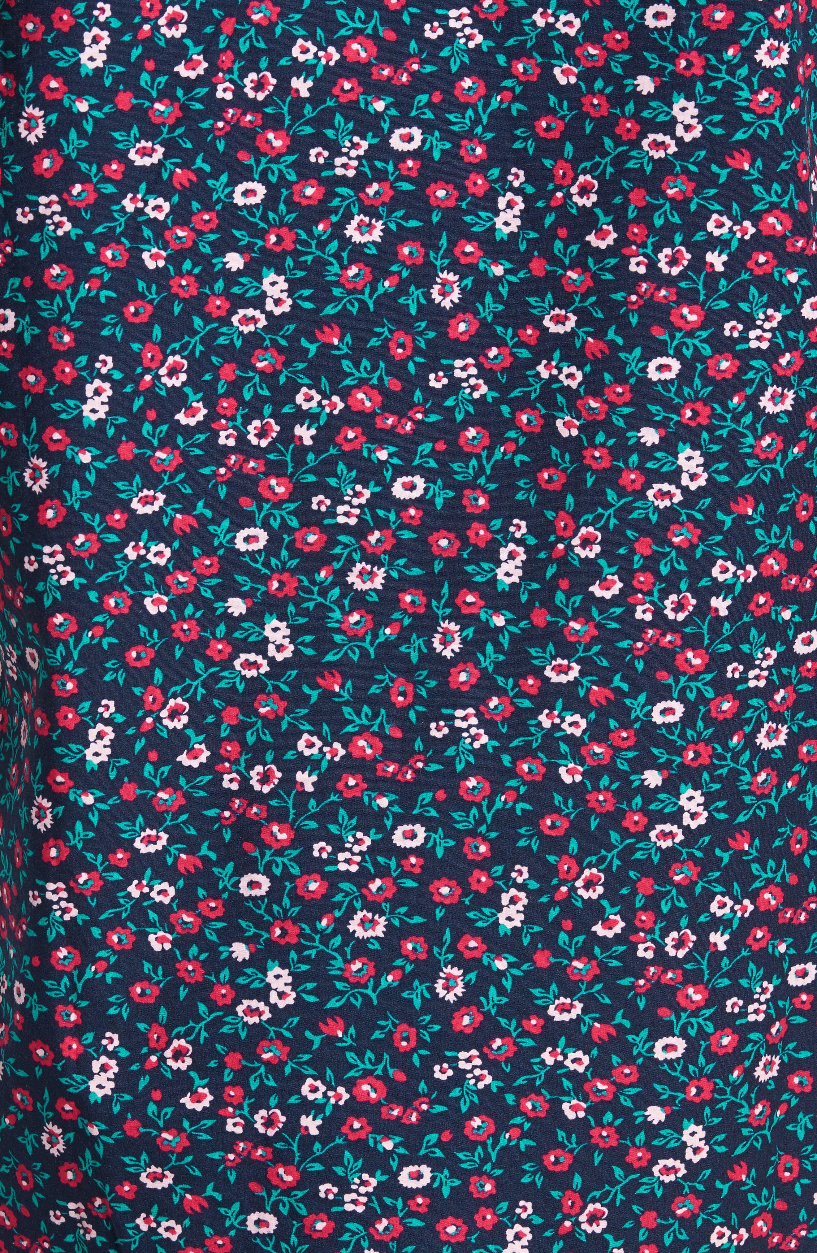 Slim Fit Print Short Sleeve Sport Shirt,                             Alternate thumbnail 5, color,                             Whitecap Floral - Red