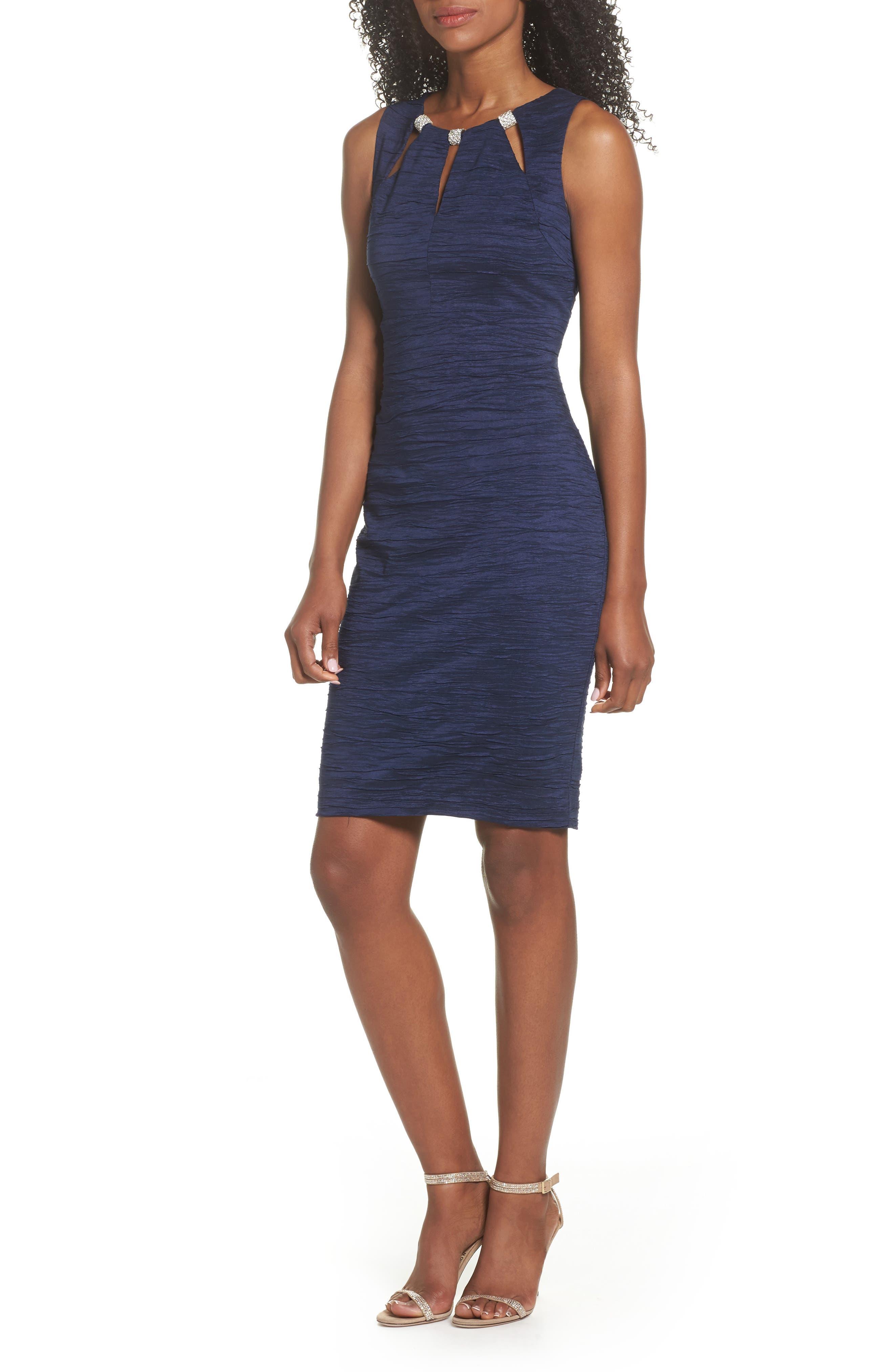 Embellished Cutout Taffeta Sheath Dress,                         Main,                         color, Navy