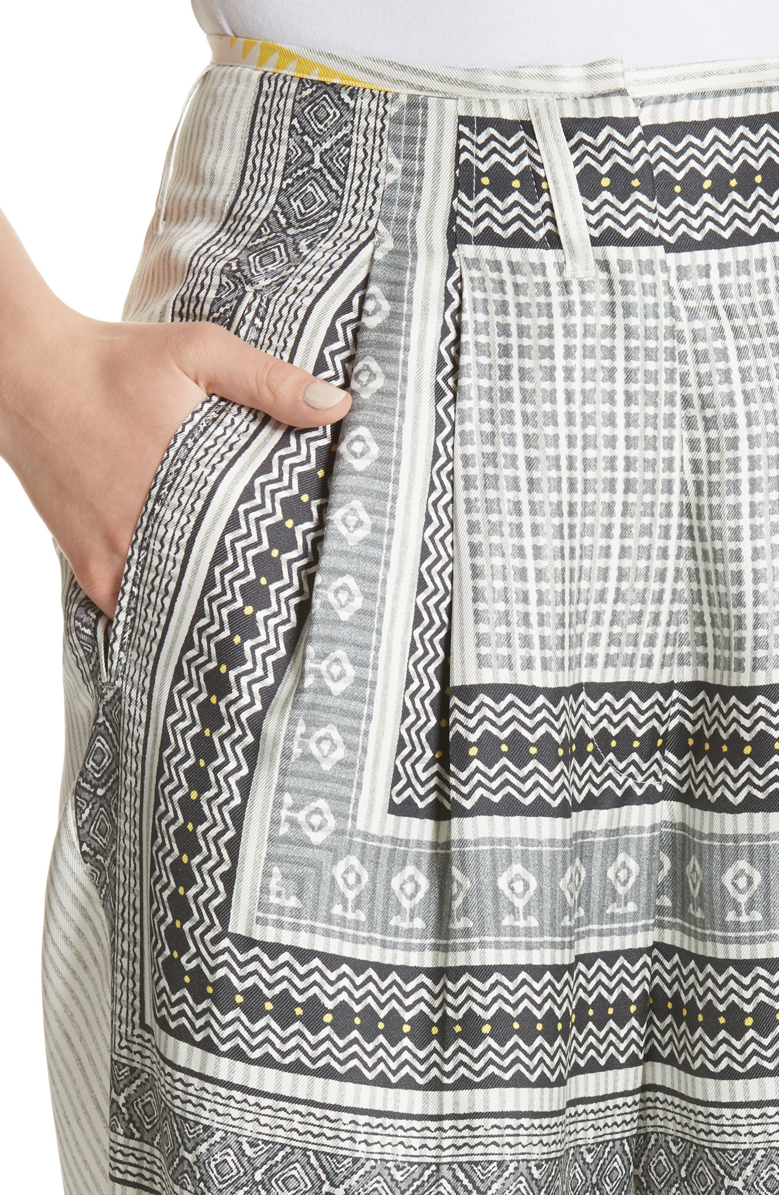 High Waist Silk Twill Pants,                             Alternate thumbnail 4, color,                             White