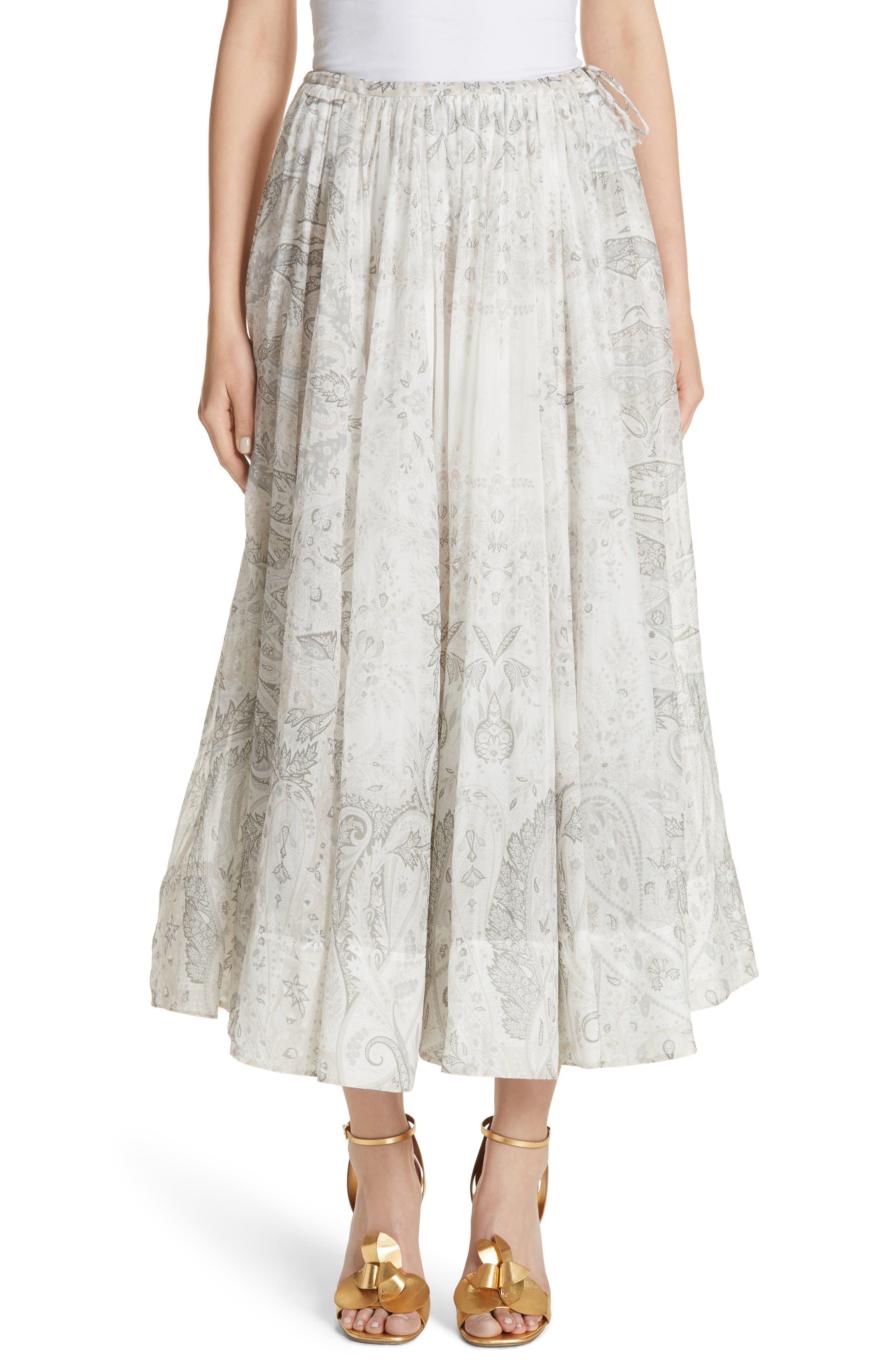 Etro Pleated Paisley Midi Skirt