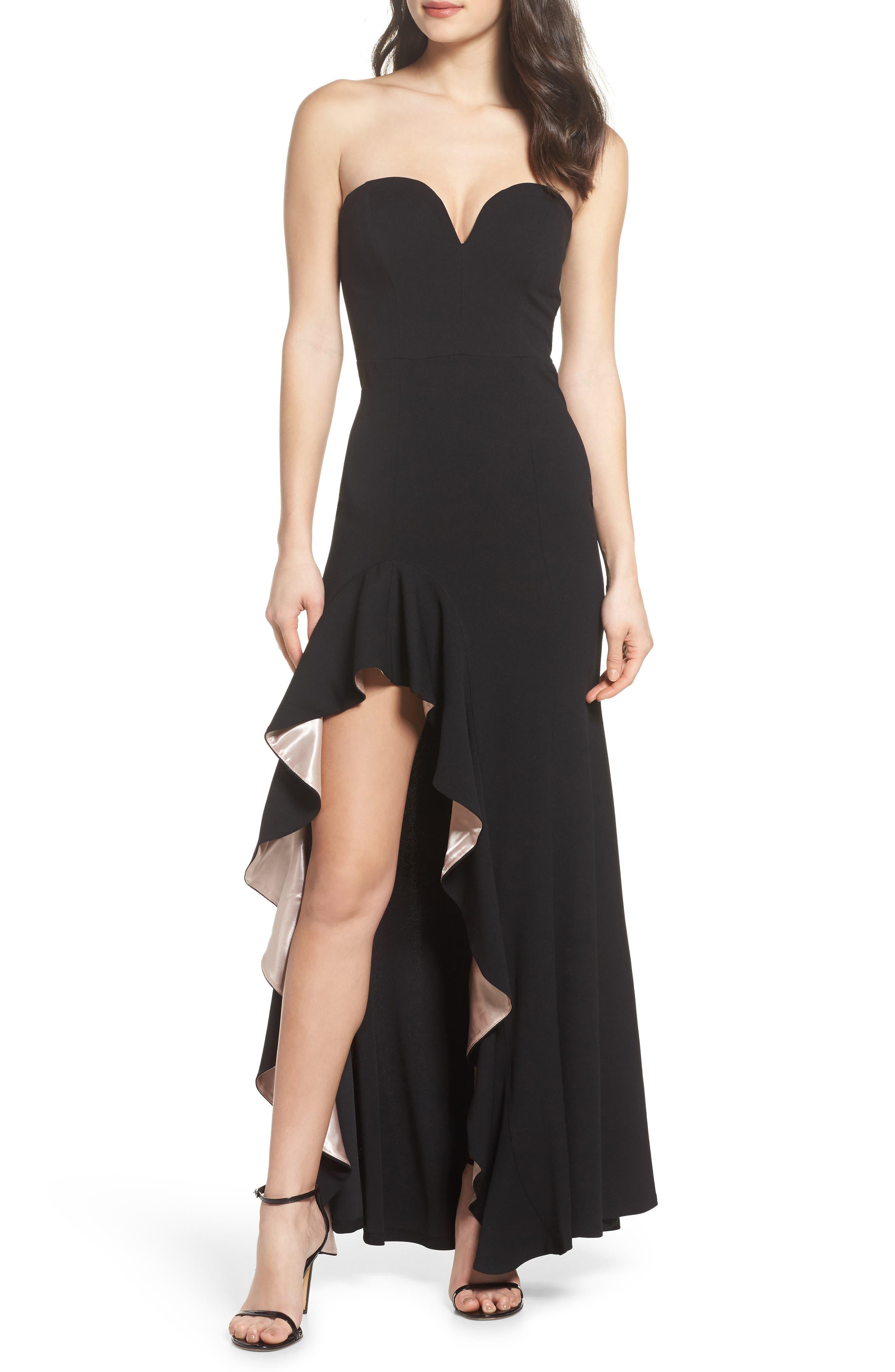 Strapless Ruffle Trim Trumpet Gown,                         Main,                         color, Black/ Mauve