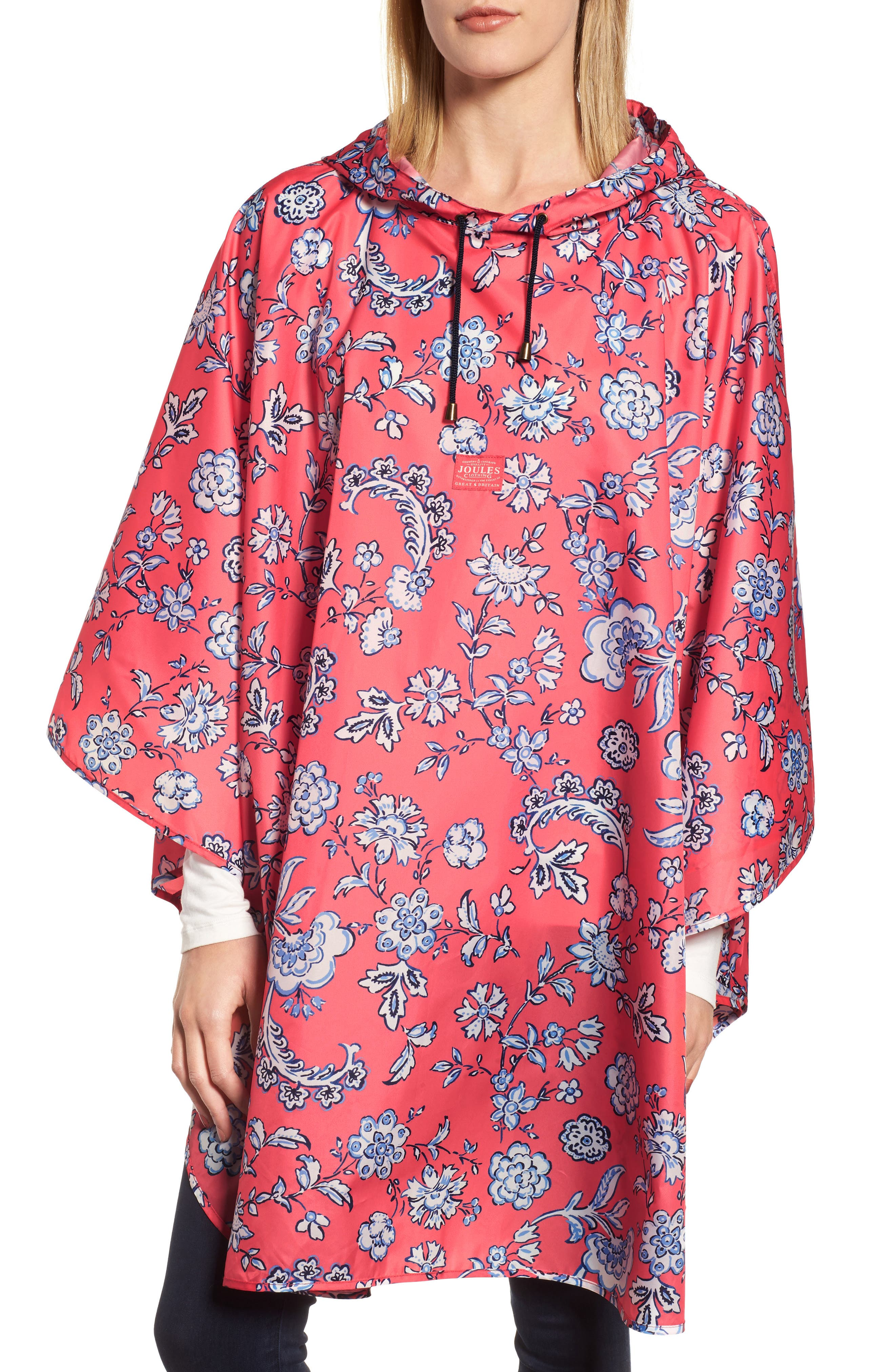 Right as Rain Print Packable Hooded Poncho,                         Main,                         color, Red Sky Indienne