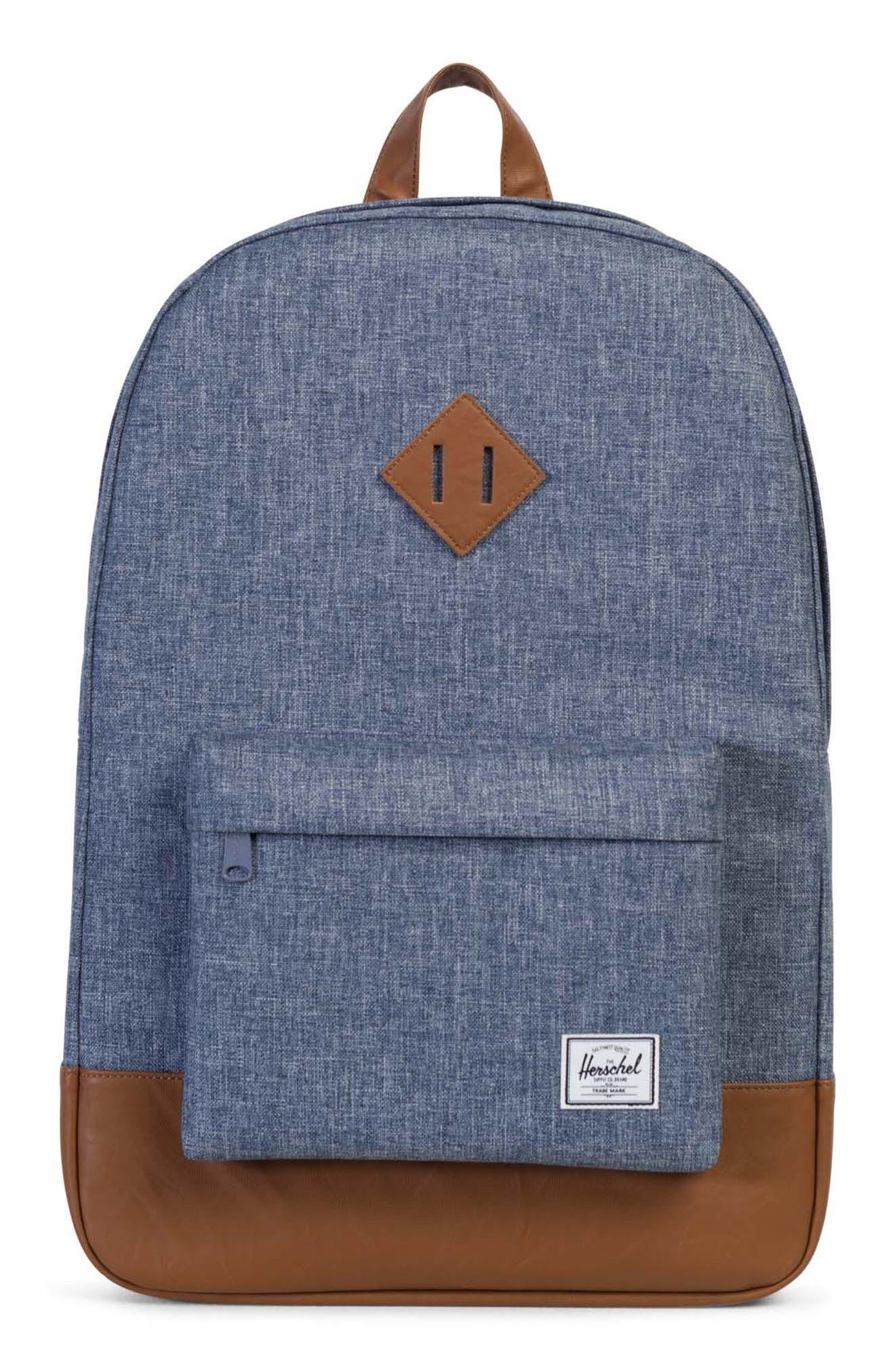 Heritage Backpack,                             Main thumbnail 1, color,                             Dark Blue Crosshatch/ Tan
