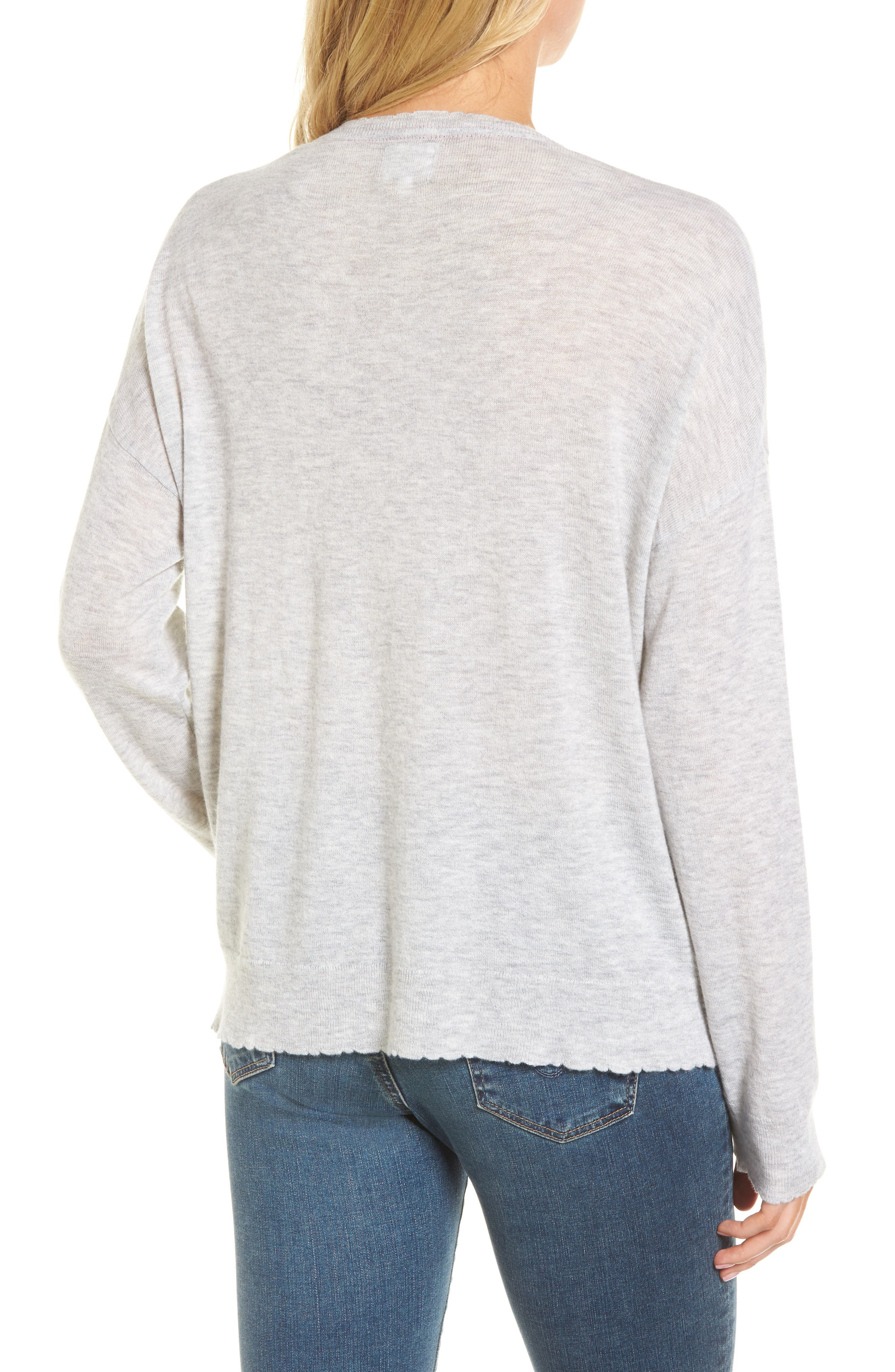 Stars Wool & Cashmere Sweater,                             Alternate thumbnail 2, color,                             Heather Grey
