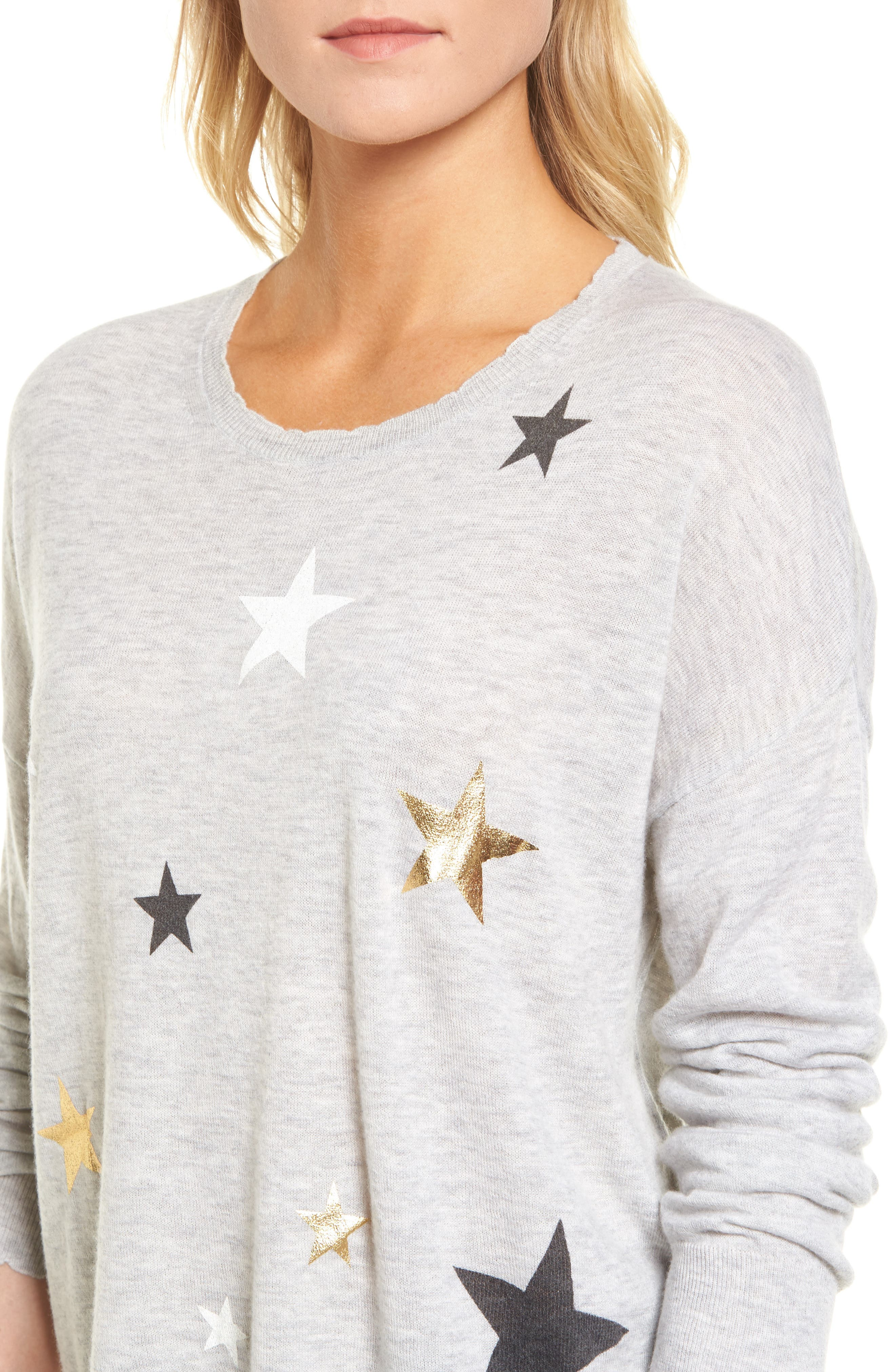 Stars Wool & Cashmere Sweater,                             Alternate thumbnail 4, color,                             Heather Grey