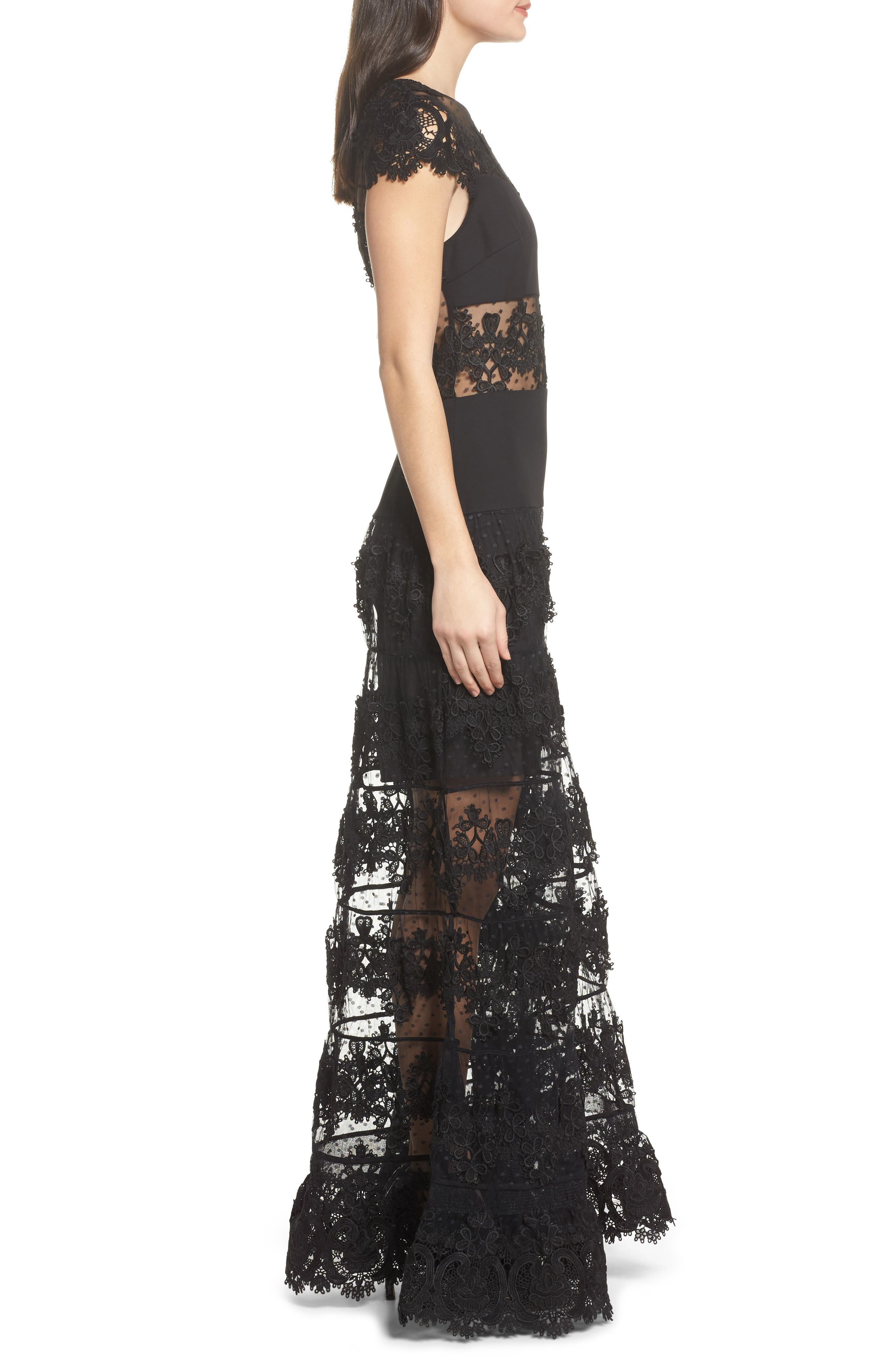Flamenco Lace Inset Gown,                             Alternate thumbnail 4, color,                             Black/ Navy