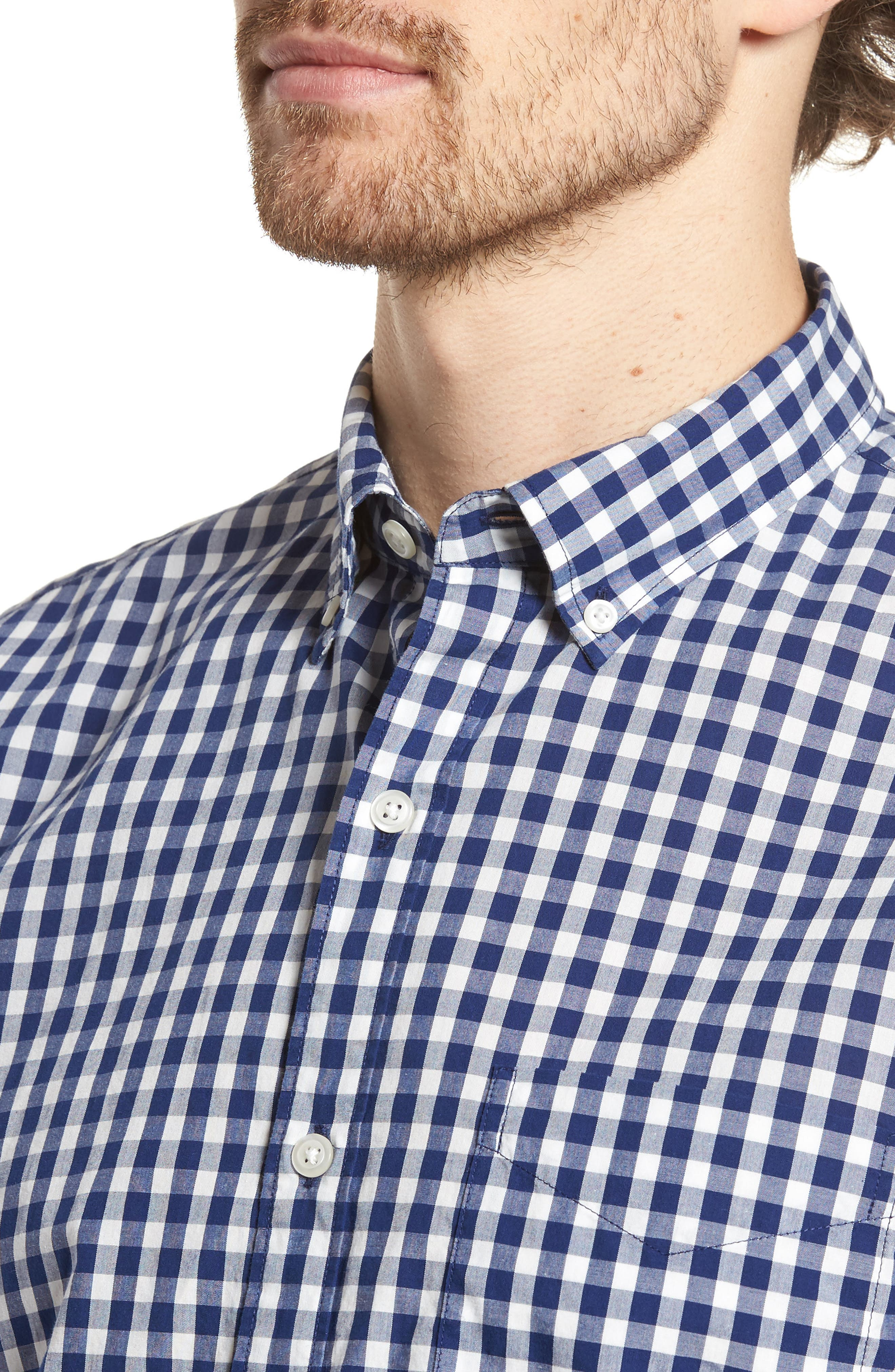 Summerweight Slim Fit Check Sport Shirt,                             Alternate thumbnail 2, color,                             Canyon Gingham - Blue Depths