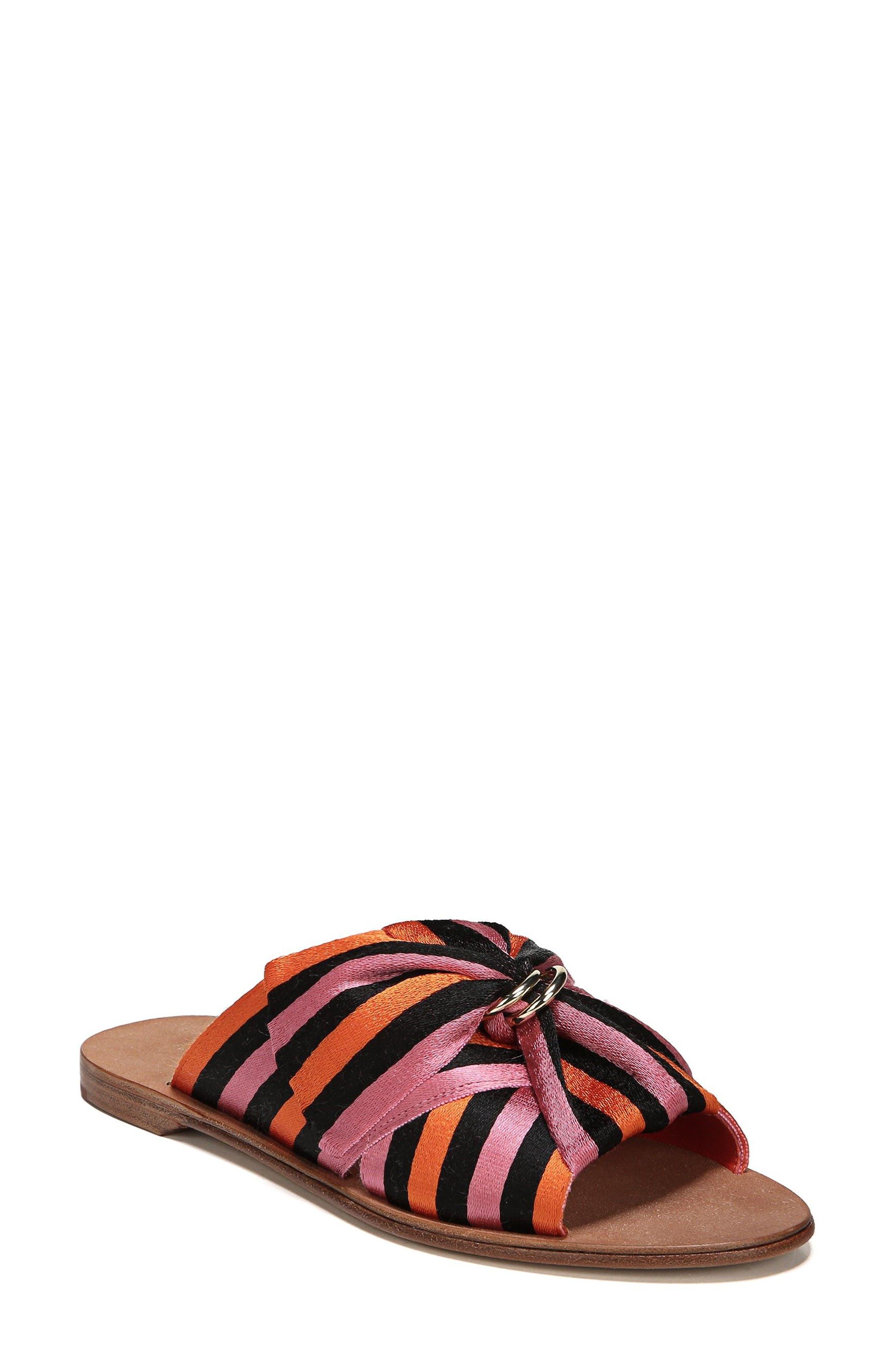 Bella Asymmetrical Slide Sandal,                             Main thumbnail 1, color,                             Rose Multi