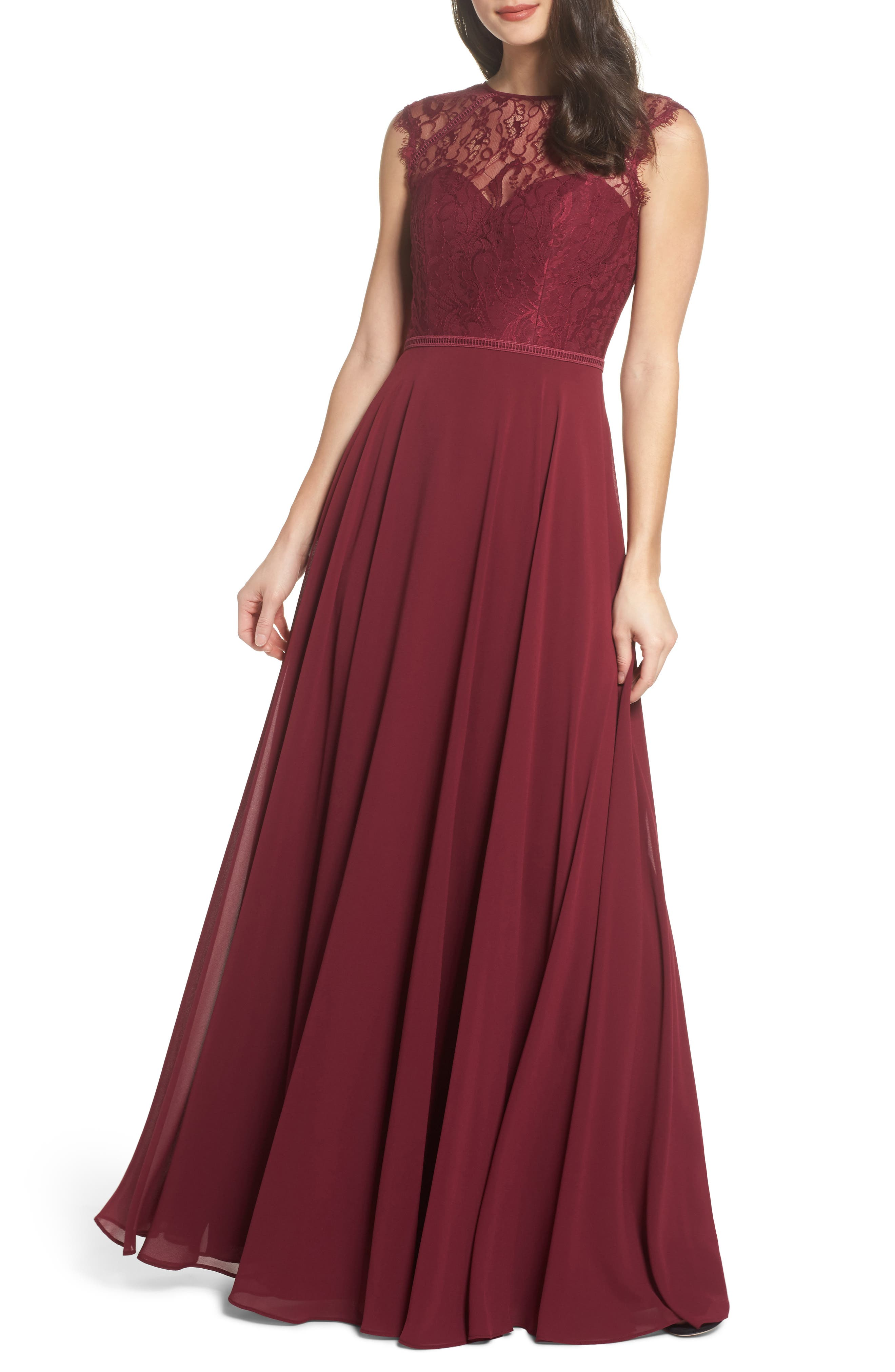 Lace & Chiffon Gown,                             Main thumbnail 1, color,                             Burgundy