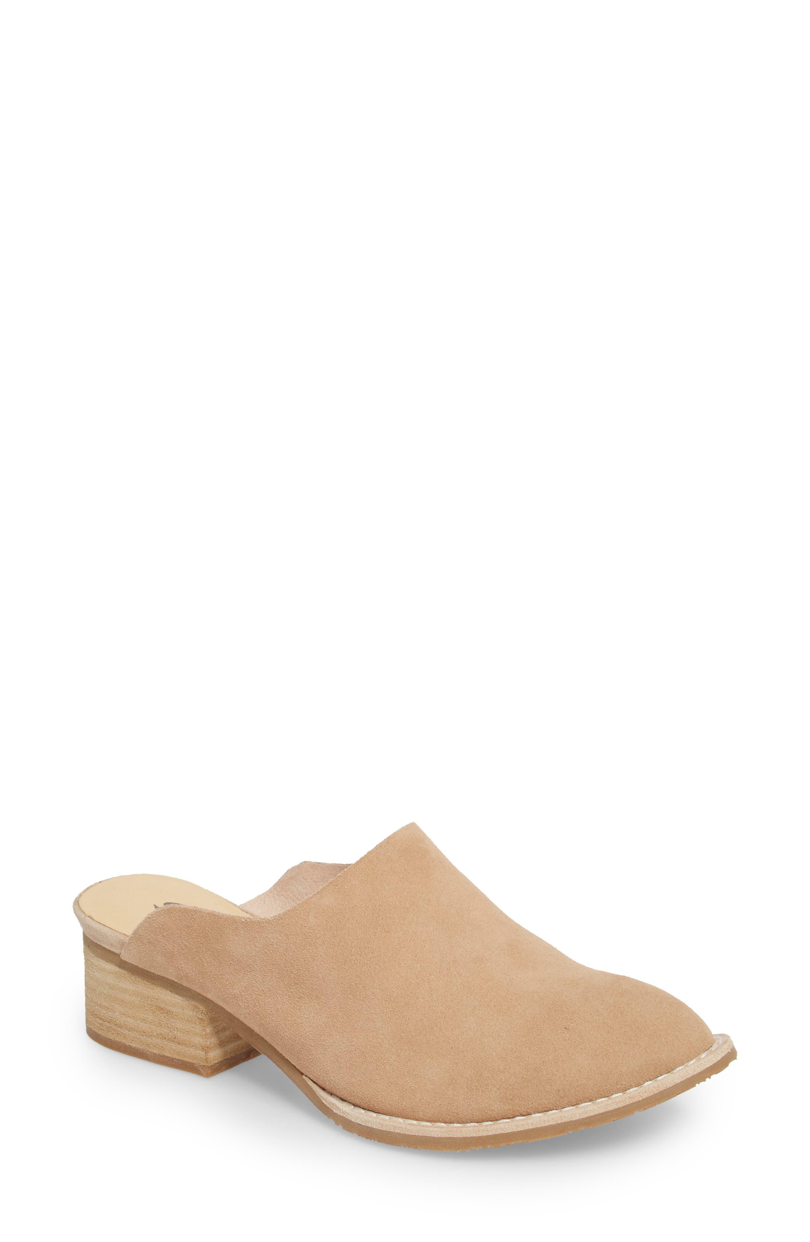 Salem Contoured Mule,                         Main,                         color, Beige Suede/ Leather