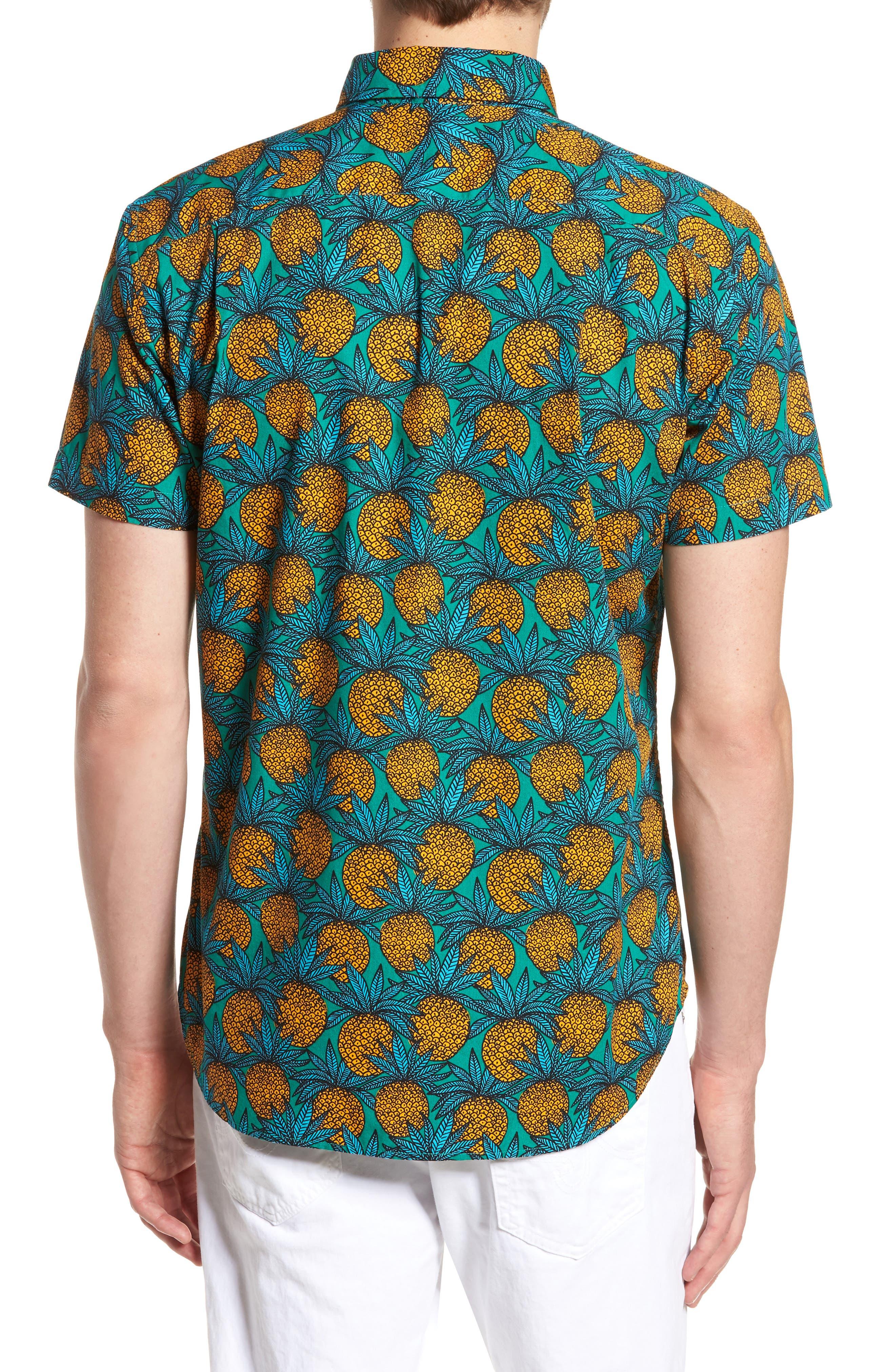 Slim Fit Print Short Sleeve Sport Shirt,                             Alternate thumbnail 3, color,                             Pineapple Fields - Lush Meadow