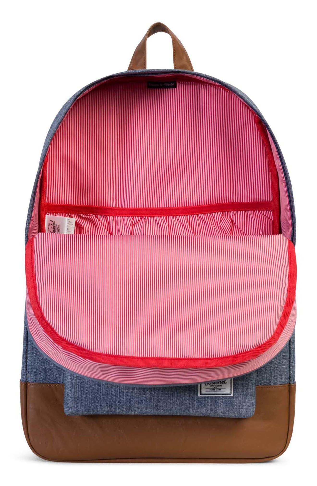 Heritage Backpack,                             Alternate thumbnail 3, color,                             Dark Blue Crosshatch/ Tan