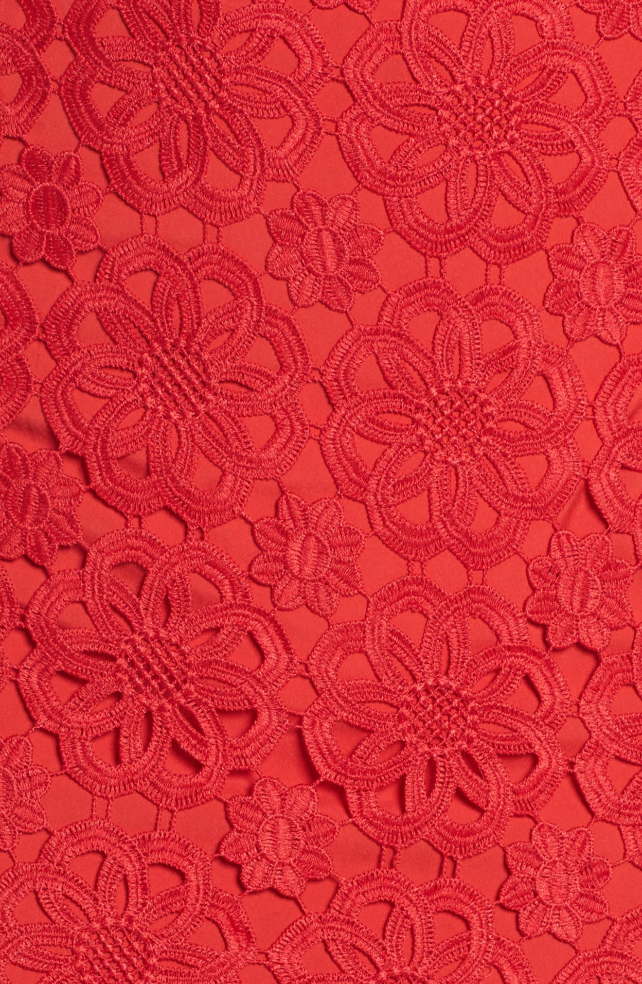 Ruffle Hem Lace Sheath Dress,                             Alternate thumbnail 6, color,                             Red
