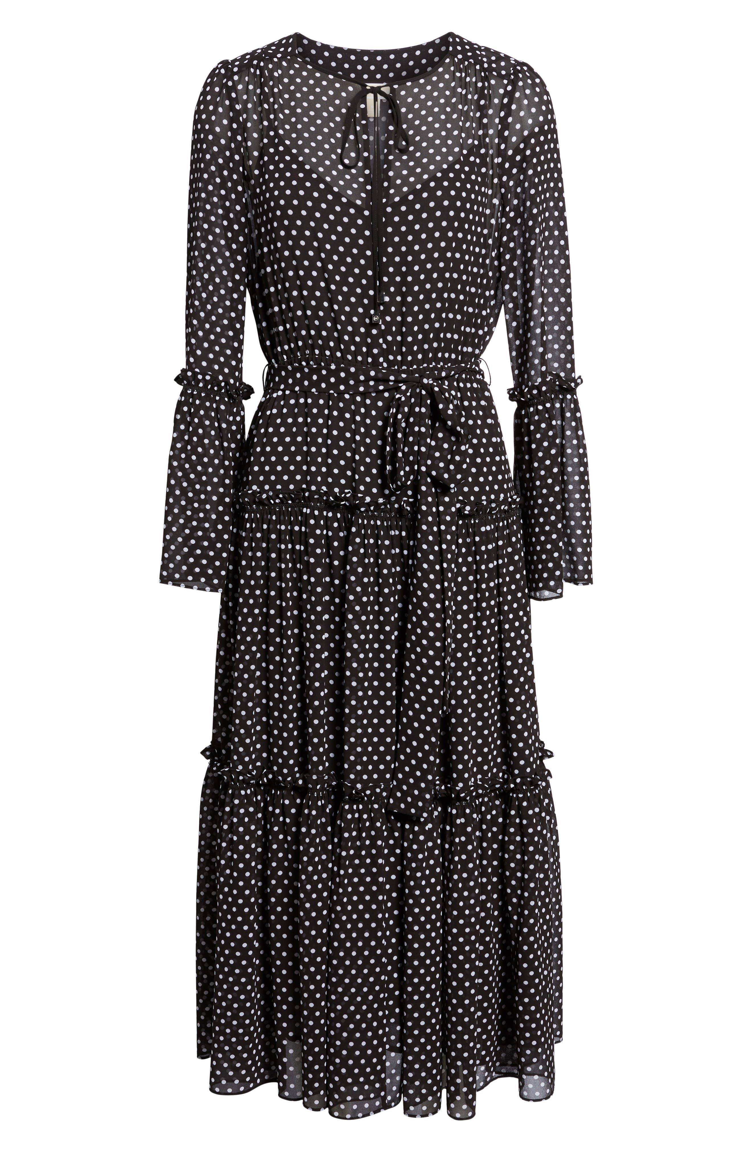 Tiered Dot Boho Dress,                             Alternate thumbnail 6, color,                             Black/ White