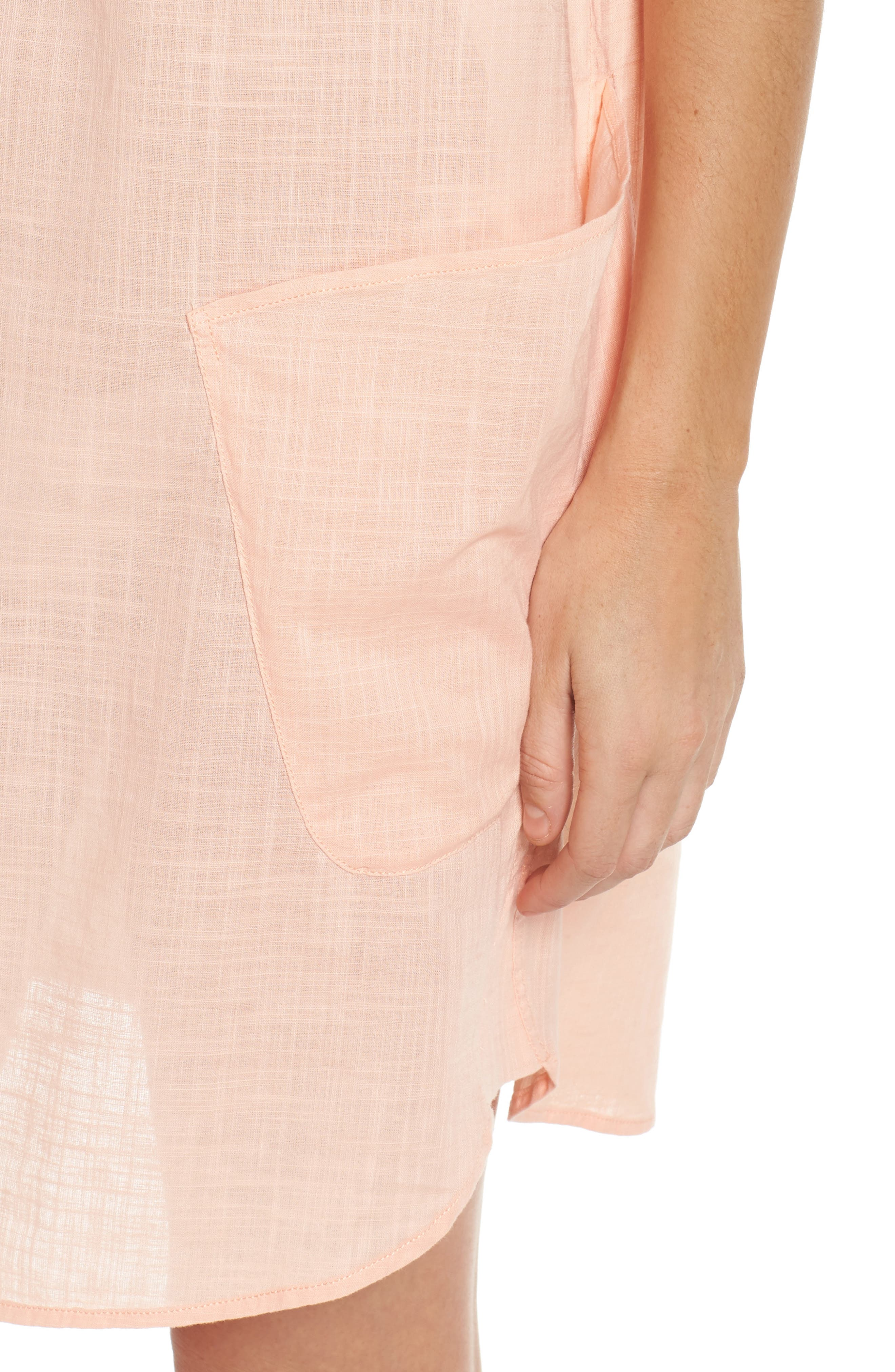 Palm Beach Cover-Up Dress,                             Alternate thumbnail 4, color,                             Peach Melba