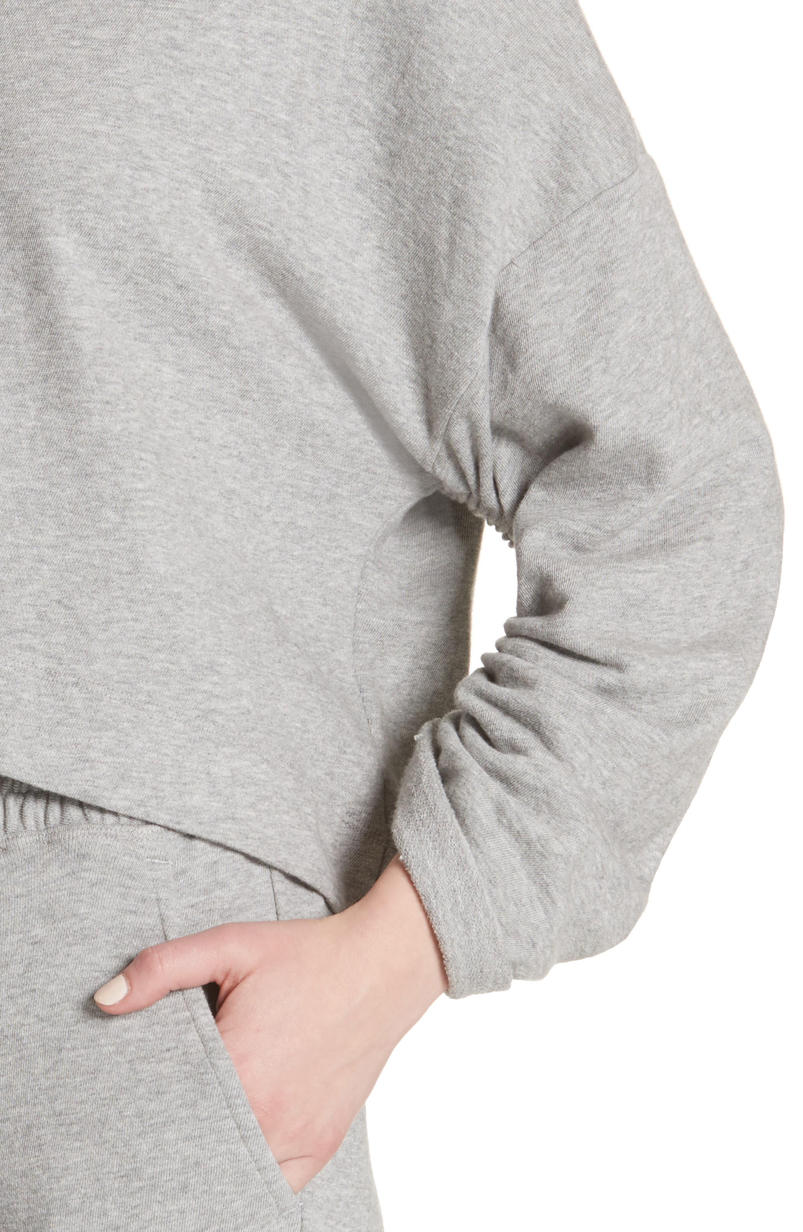 Ember Ruched Sleeve Sweatshirt,                             Alternate thumbnail 4, color,                             Heather Grey