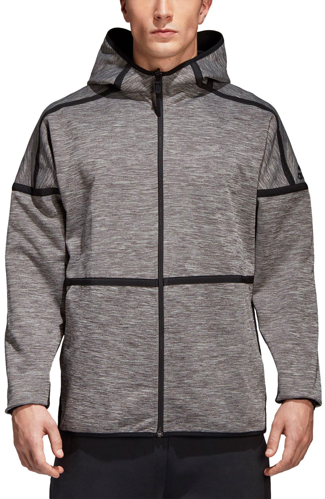 ZNE Regular Fit Reversible Hooded Jacket,                         Main,                         color, Black / Storm Heather/ Mgh