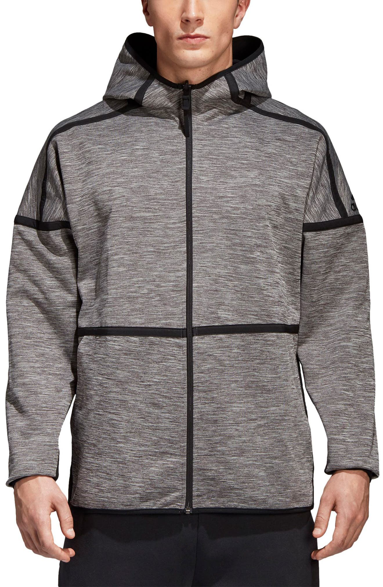 ZNE Regular Fit Reversible Hooded Jacket,                         Main,                         color, Black / Storm Heather/ Mgh