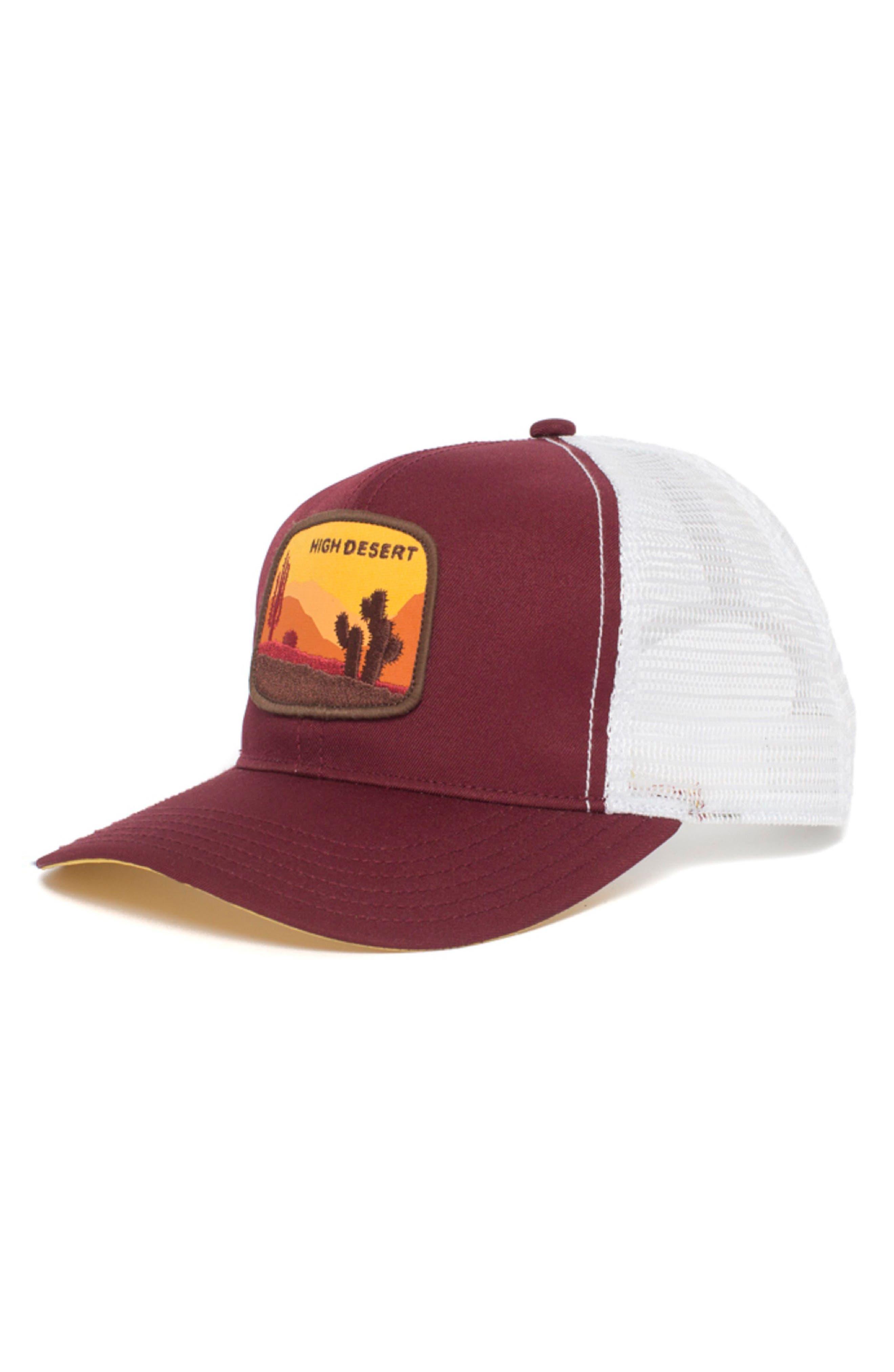 High Desert Trucker Hat,                         Main,                         color, Burgundy