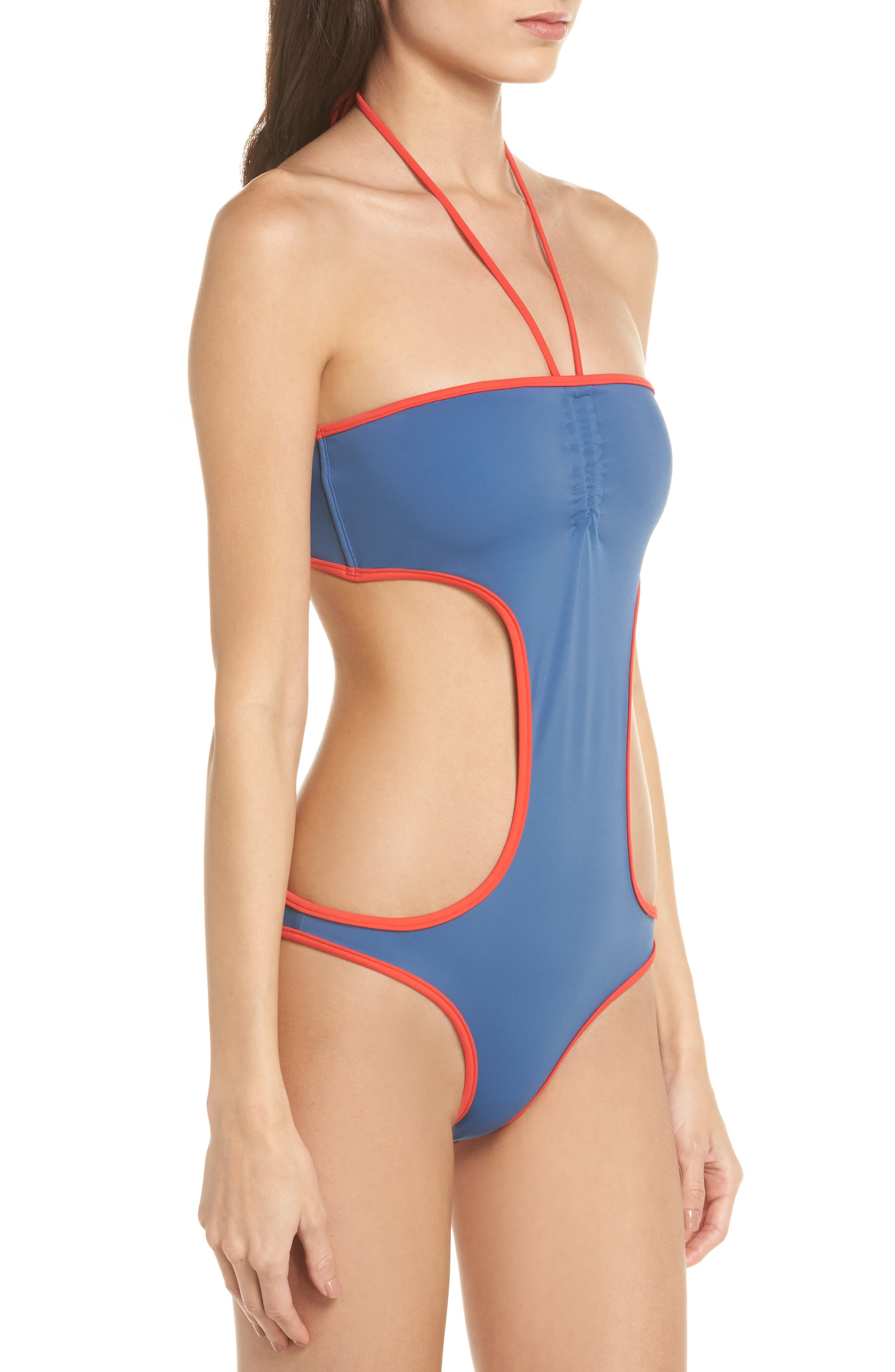 The Carolyn Cutout One-Piece Swimsuit,                             Alternate thumbnail 3, color,                             Blue