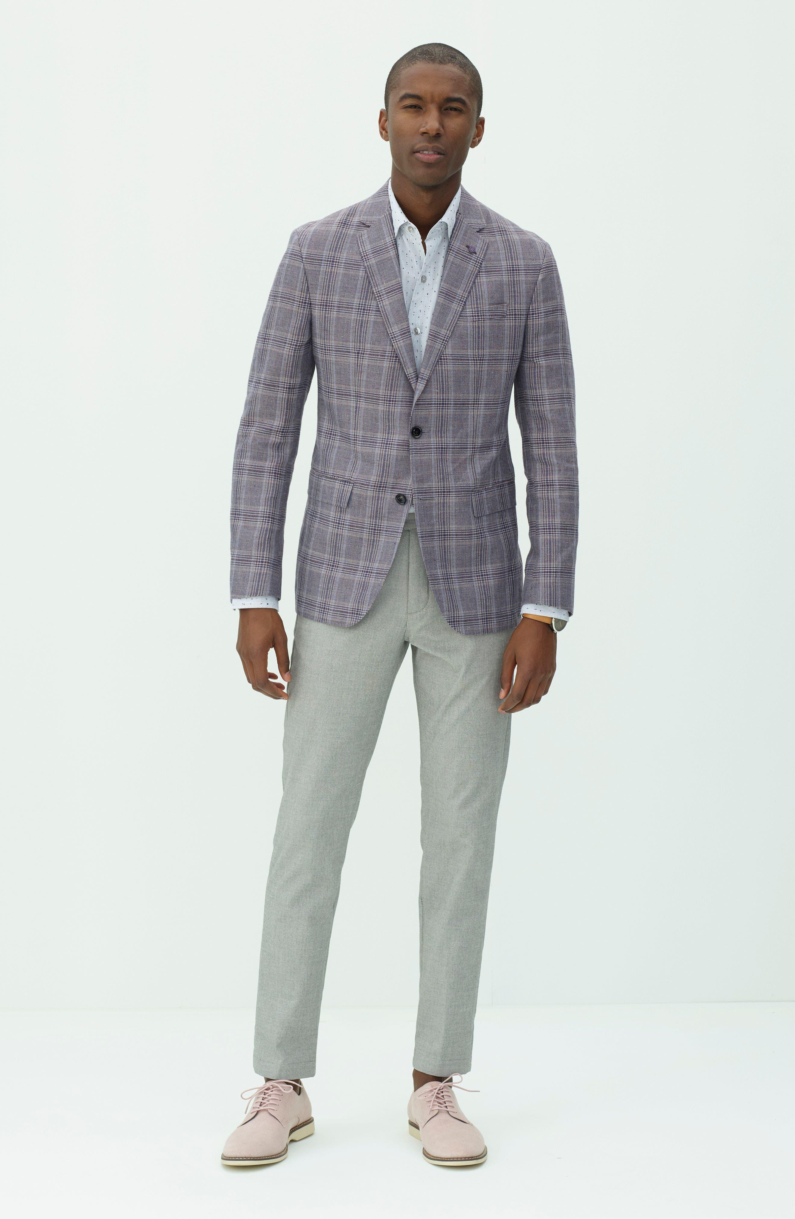 Konan Trim Fit Plaid Linen & Wool Sport Coat,                             Alternate thumbnail 2, color,