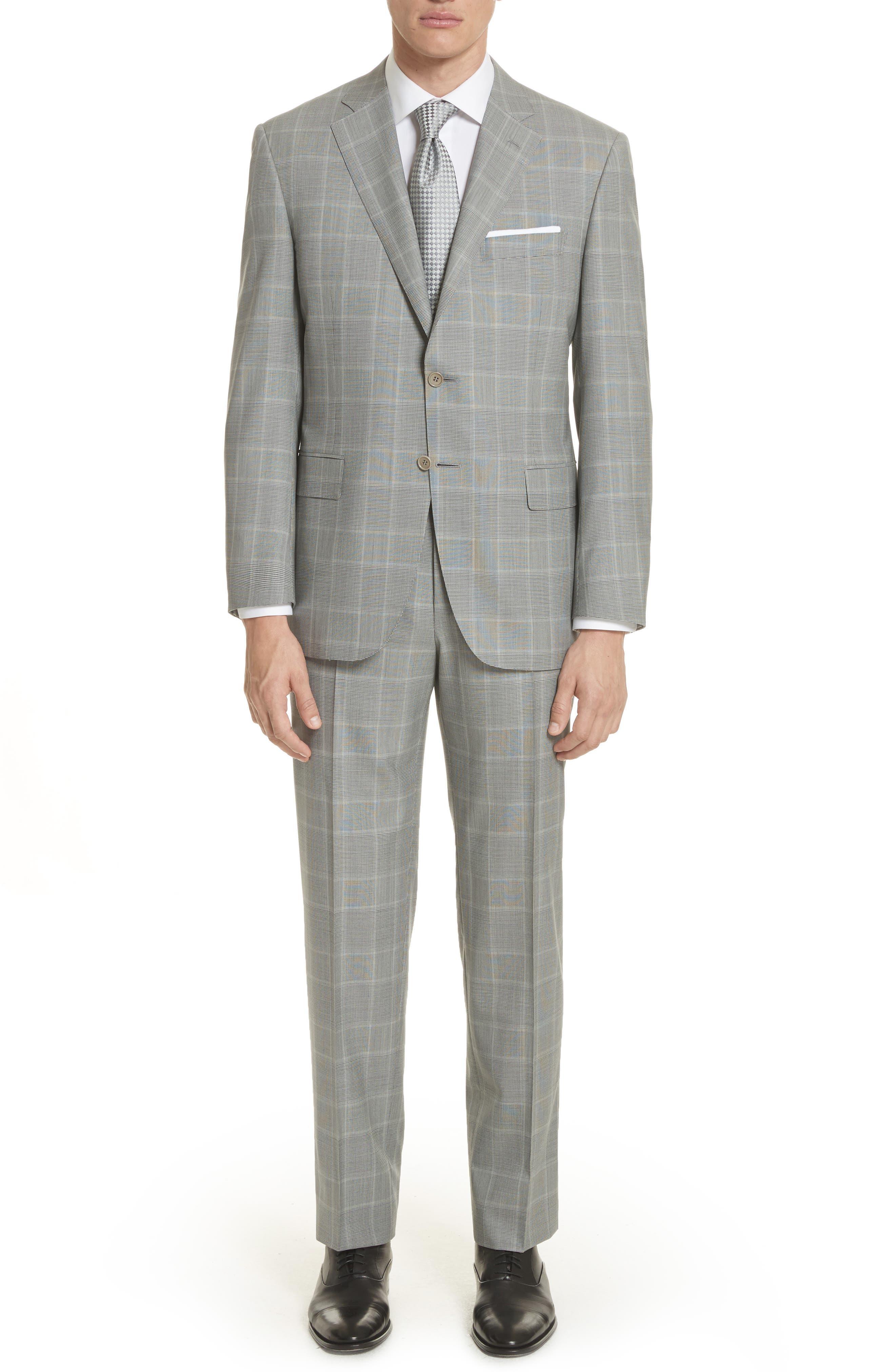 Classic Fit Plaid Wool Suit,                         Main,                         color, Grey