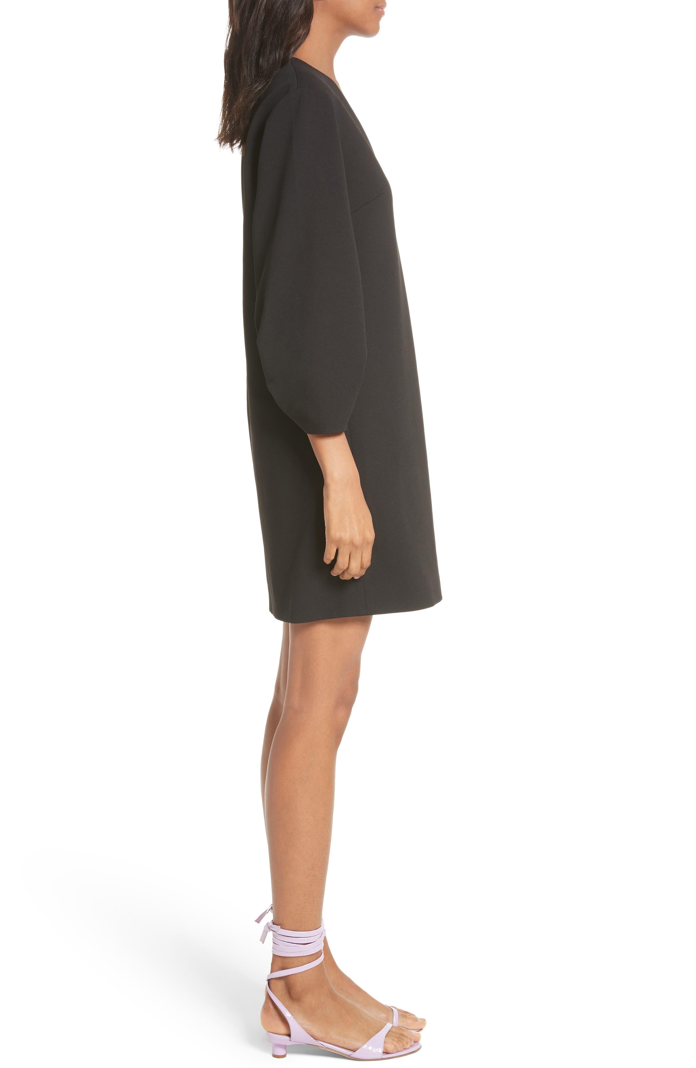 Crepe Balloon Sleeve Dress,                             Alternate thumbnail 3, color,                             Black