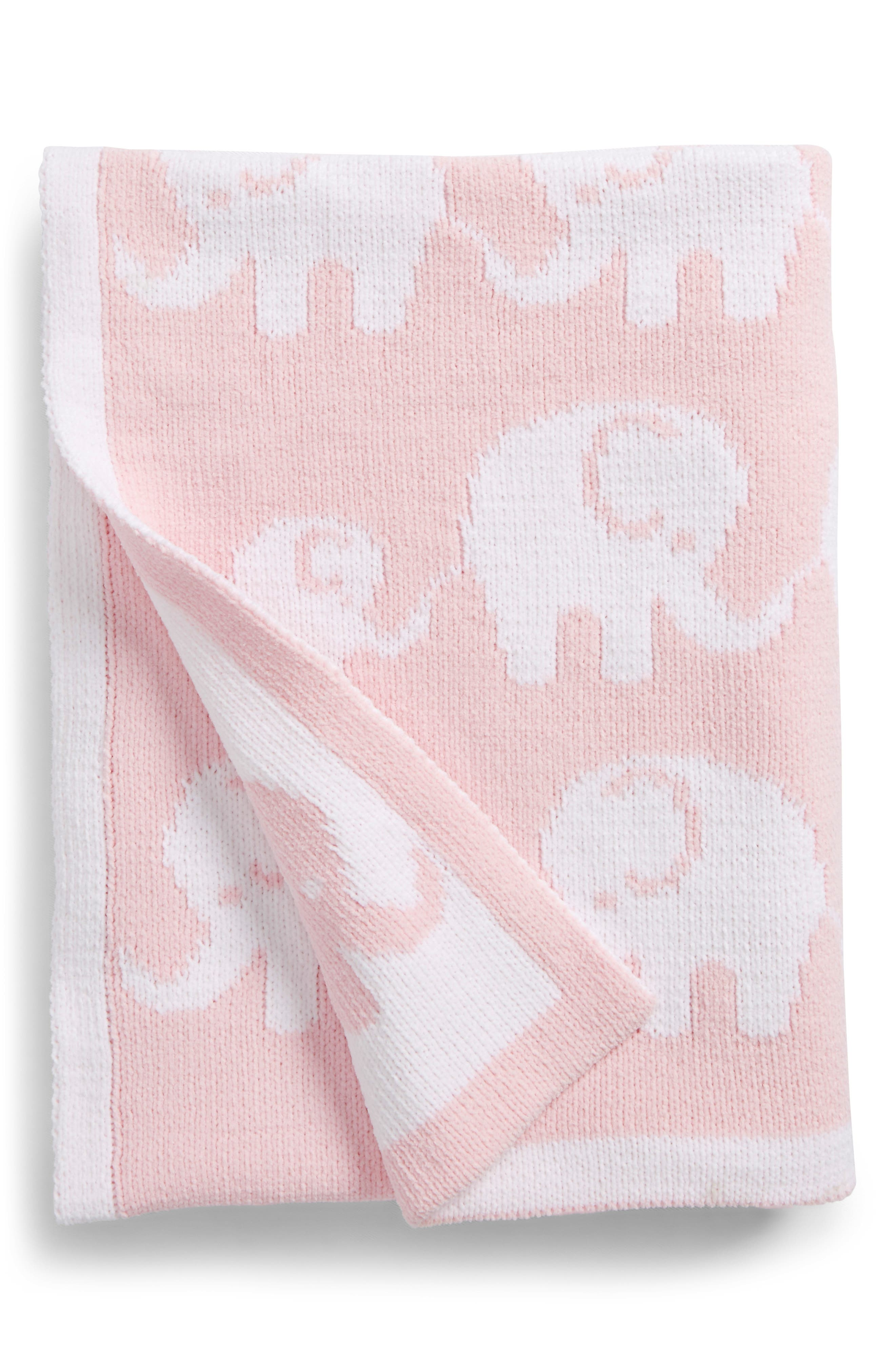 Chenille Blanket,                             Main thumbnail 1, color,                             Pink Baby Elephants