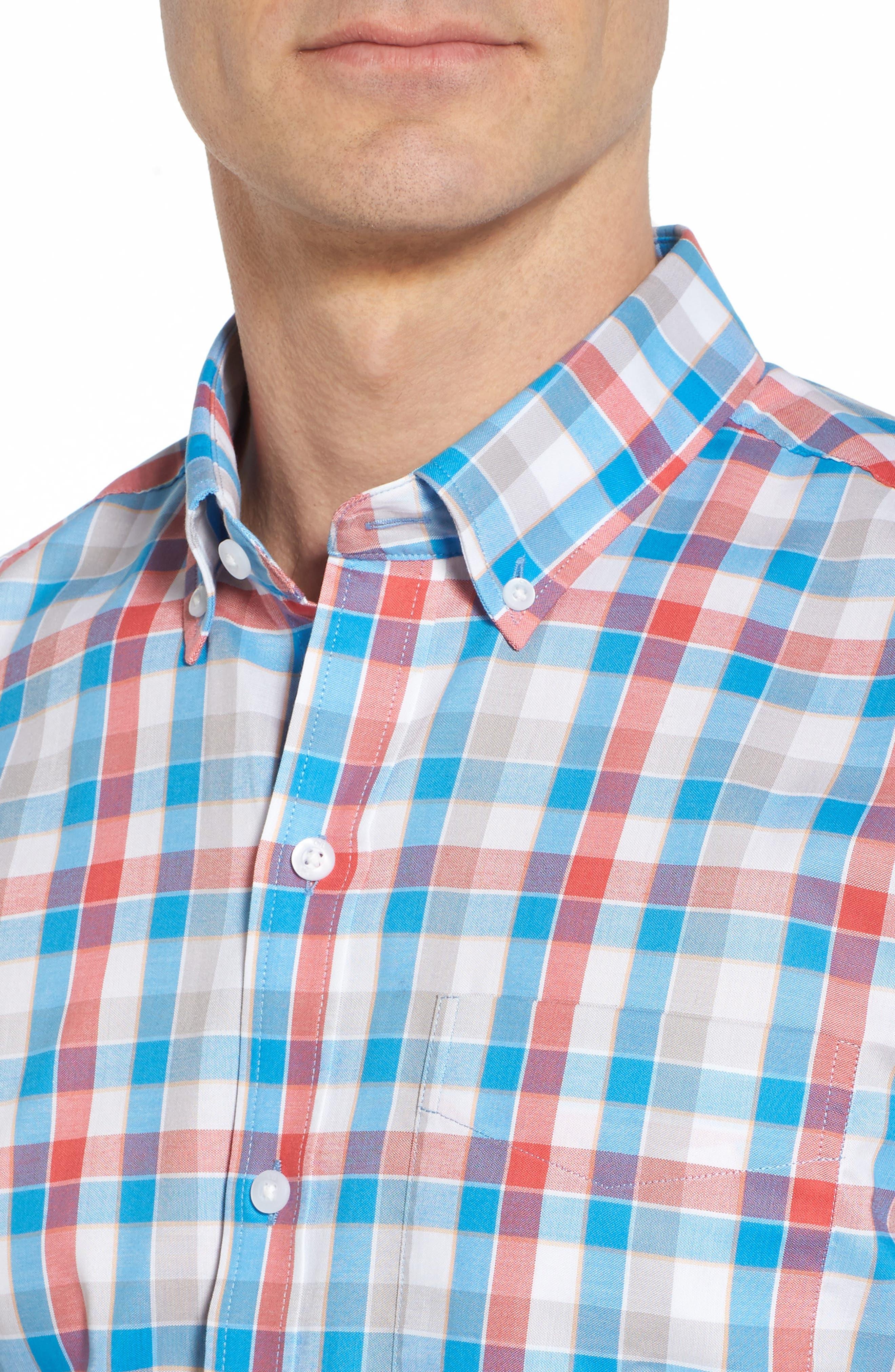 Dylan Easy Care Plaid Sport Shirt,                             Alternate thumbnail 4, color,                             Poolside