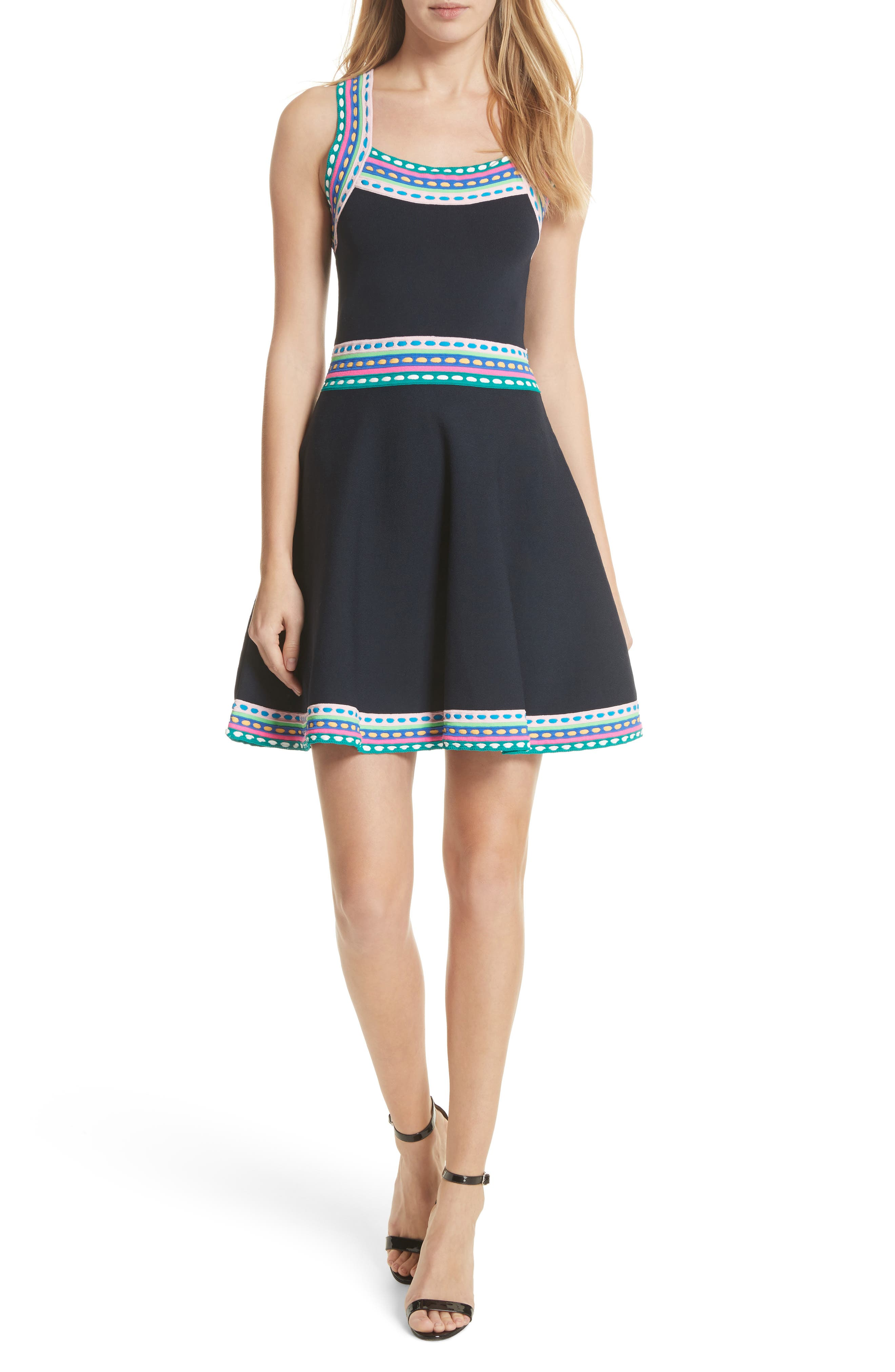 Woven Trim Fit & Flare Dress,                             Main thumbnail 1, color,                             Navy Multi