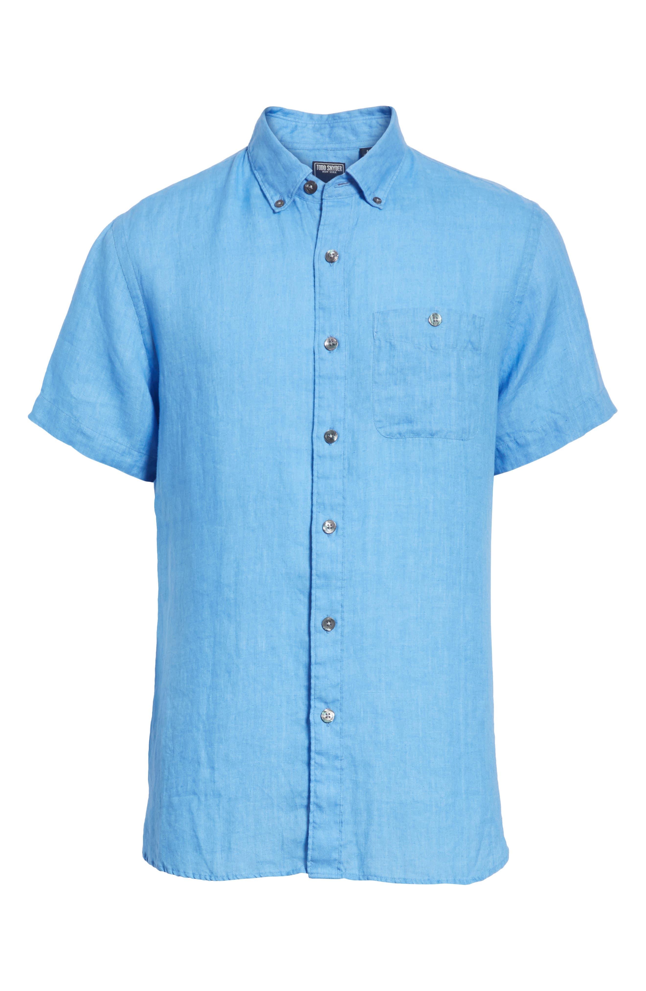 Short Sleeve Woven Linen Shirt,                             Alternate thumbnail 6, color,                             Blue
