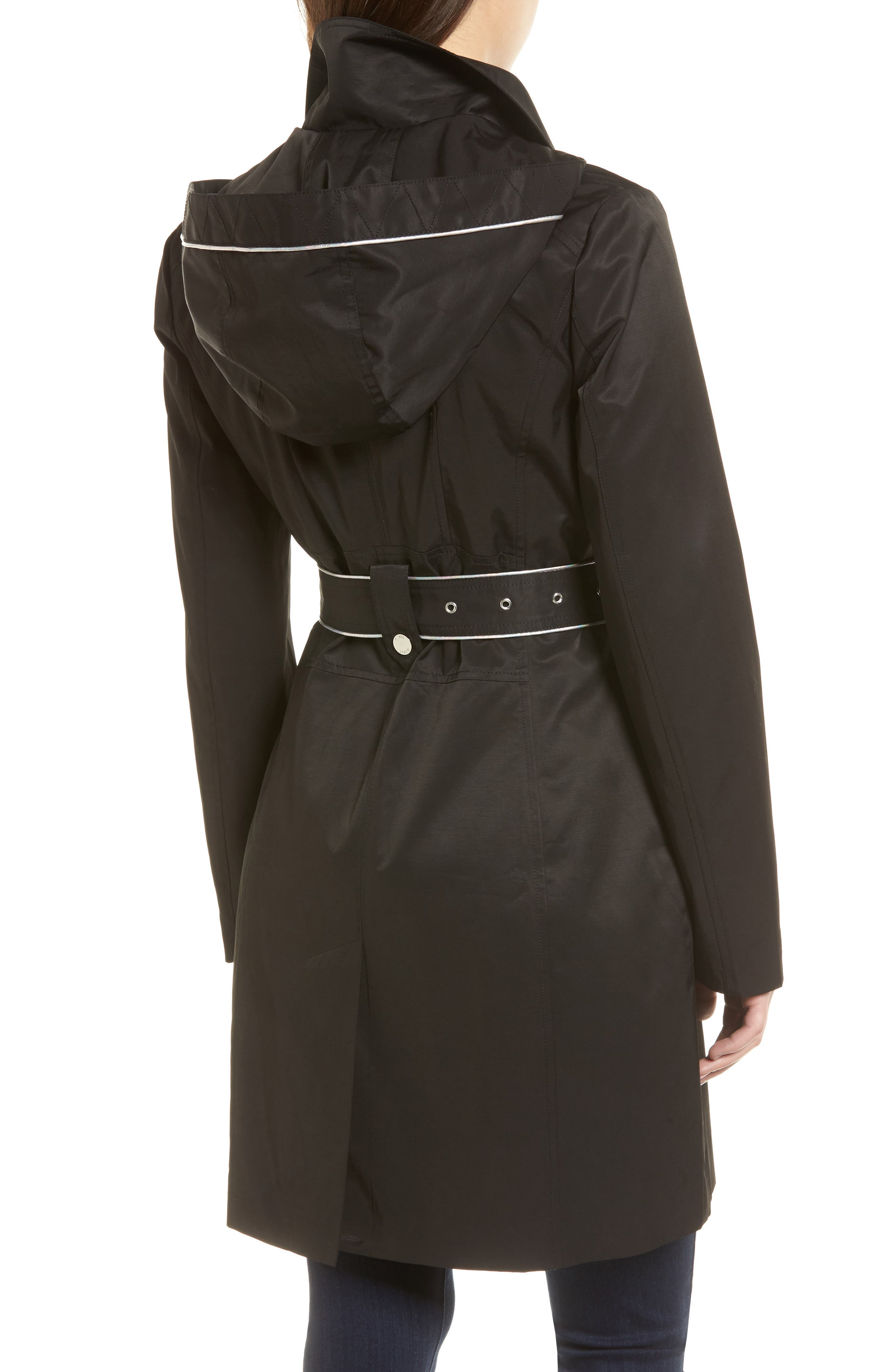 Hooded Piped Trench Coat,                             Alternate thumbnail 2, color,                             Black