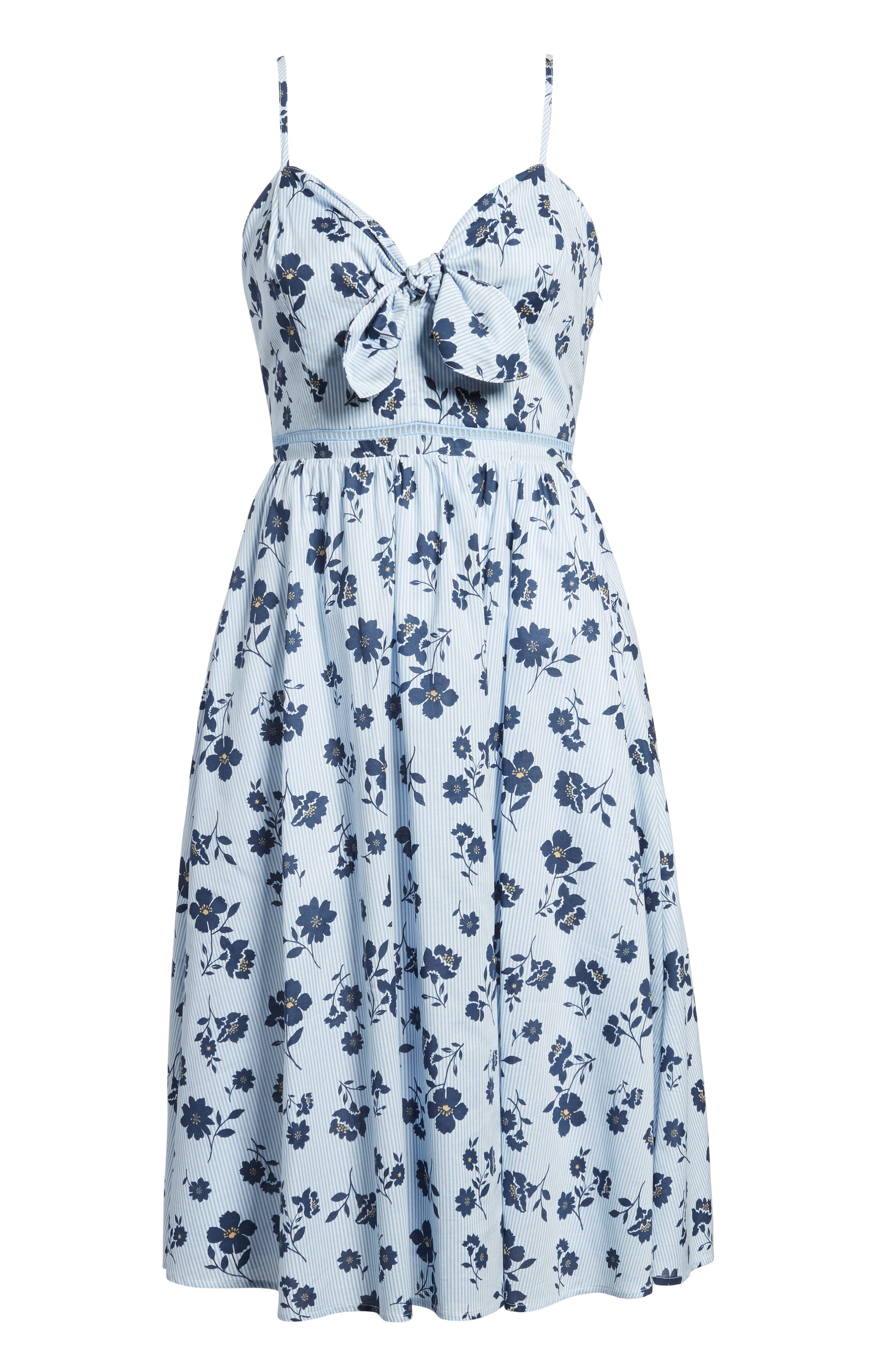 Floral Cotton Fit & Flare Dress,                             Alternate thumbnail 7, color,                             Sky Stripe
