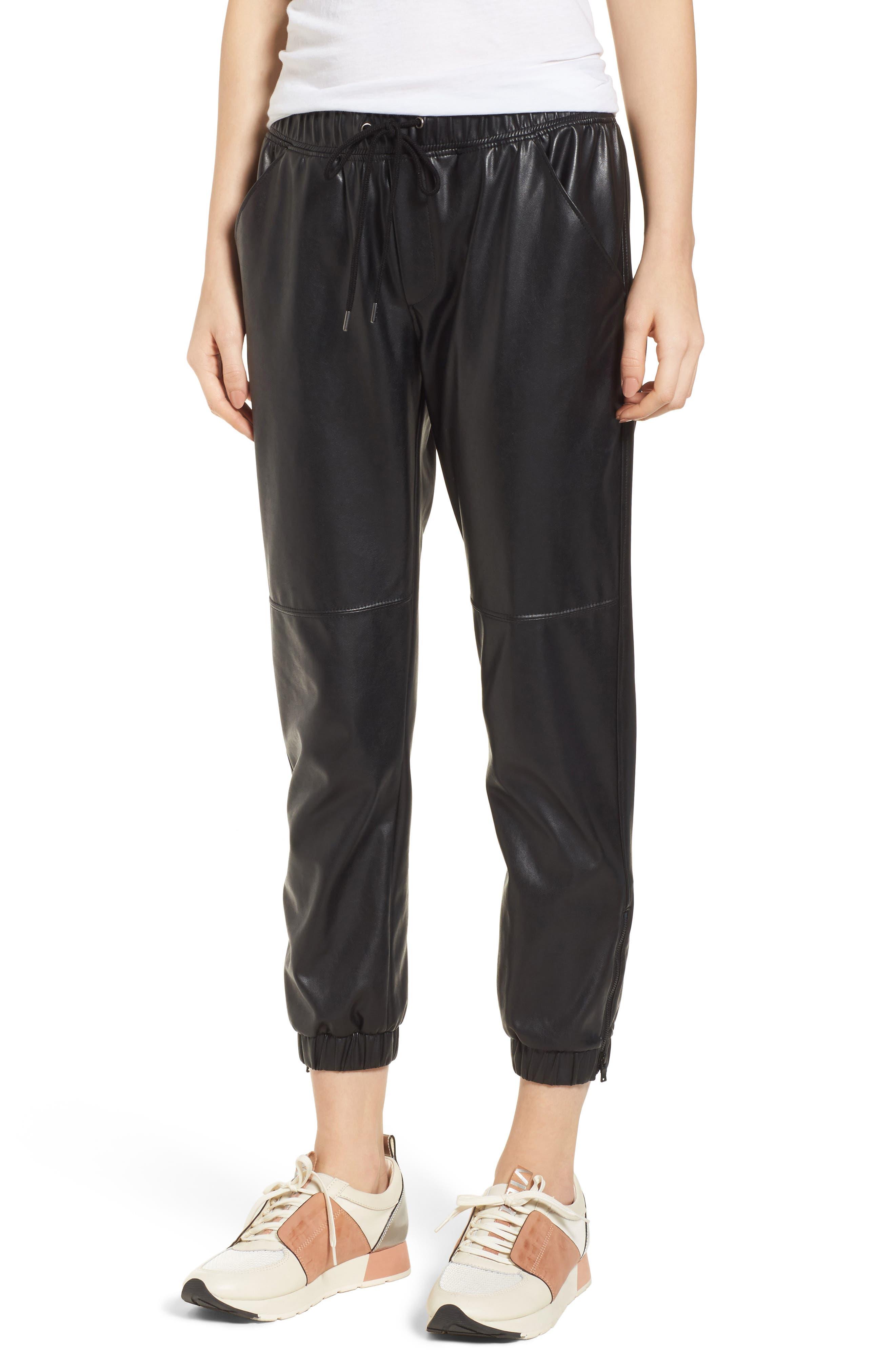 Ankle Zip Jogger Pants,                             Main thumbnail 1, color,                             Black