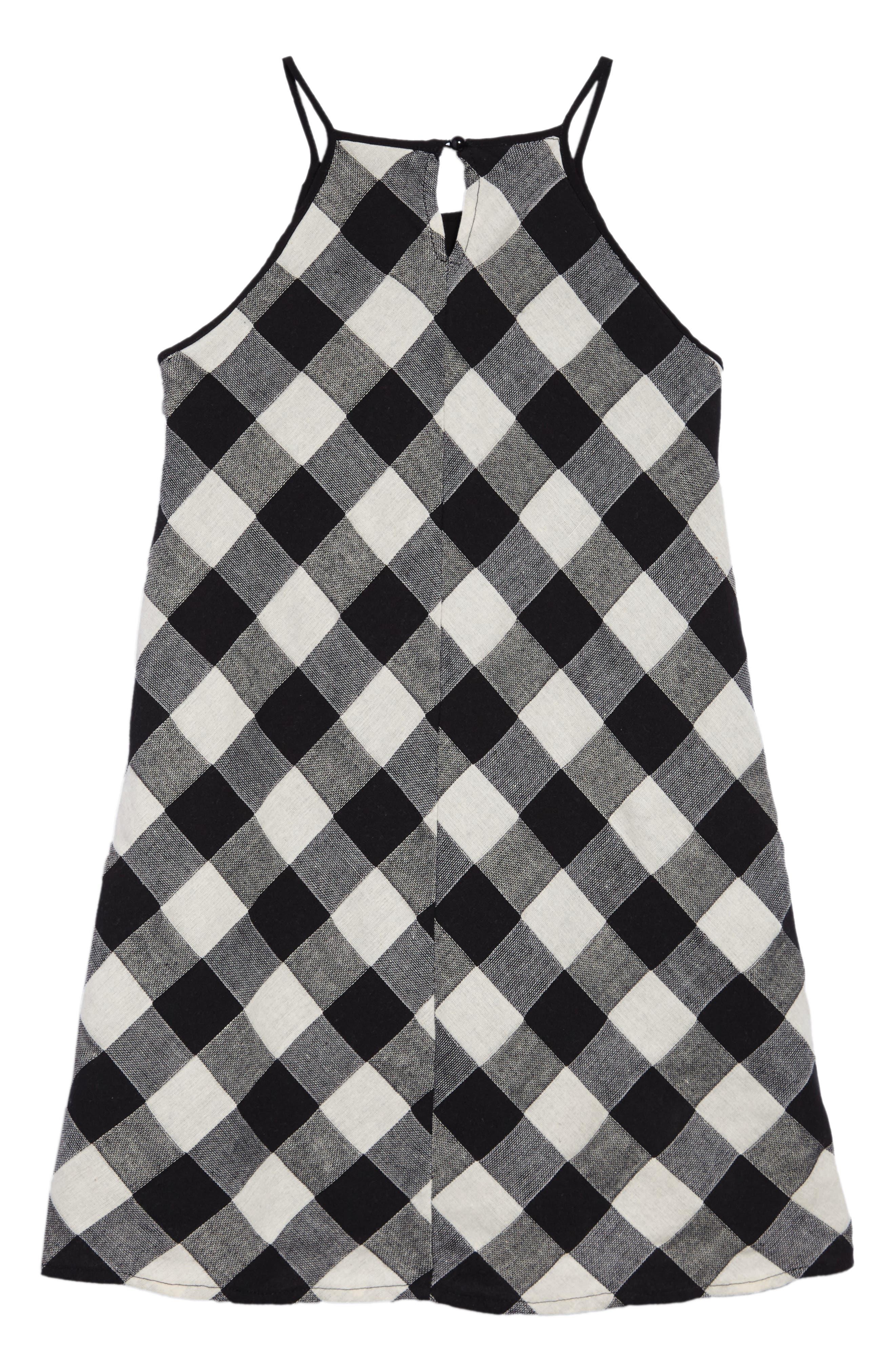 Gingham Tank Dress,                             Alternate thumbnail 2, color,                             Blk/ White